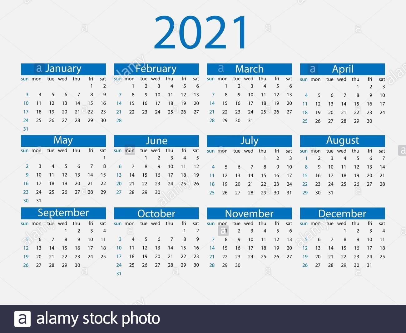 2021 Calendar, Week Starts Sunday. Vector Illustration, Flat