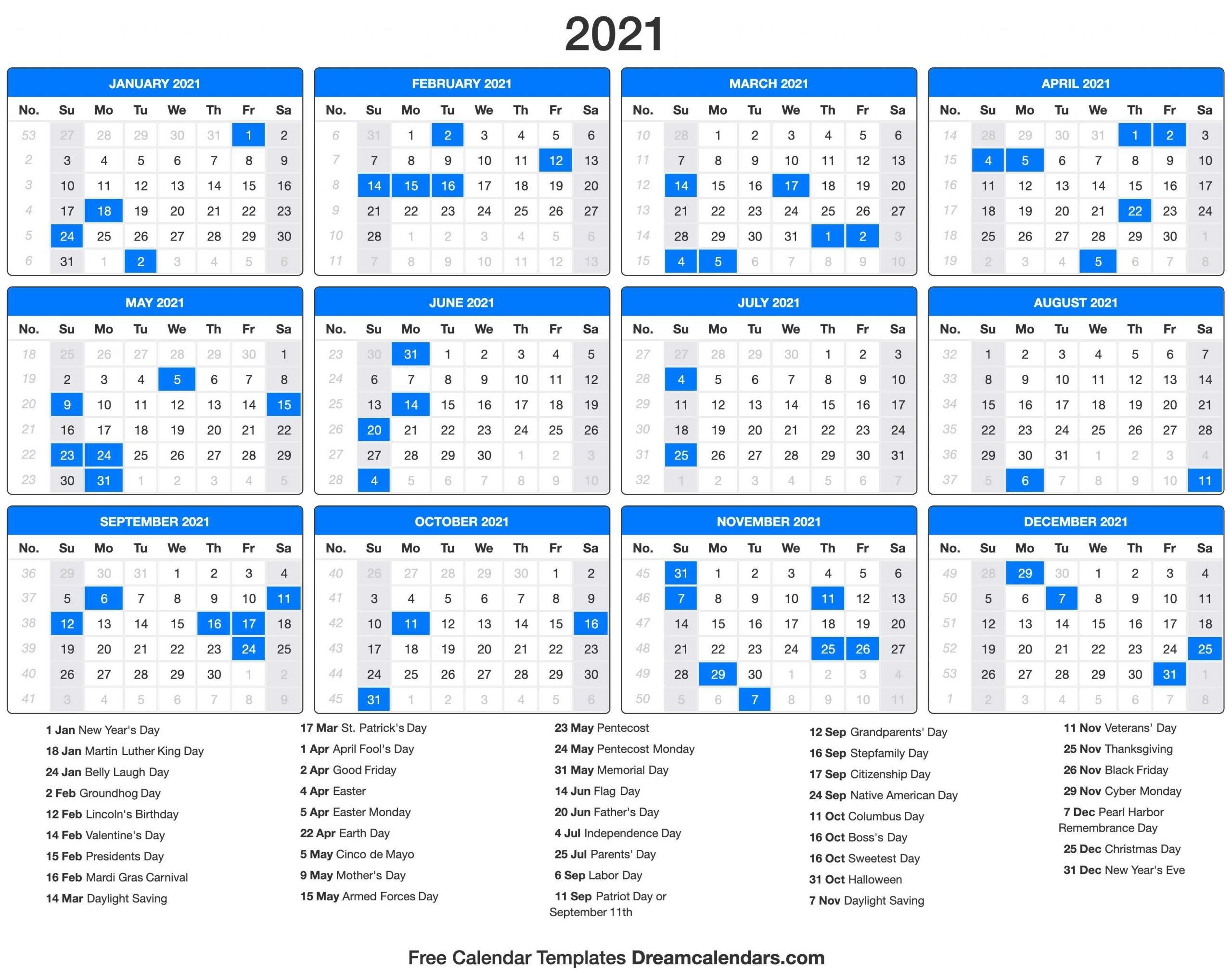 2021 Calendar With Holidays - Dream Calendars In 2020