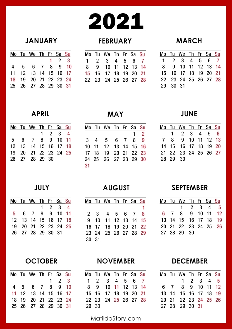 2021 Calendar With Holidays, Printable Free, Red – Monday