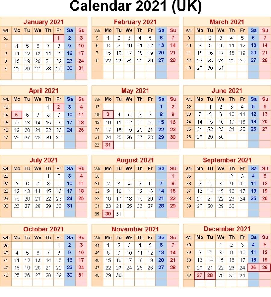 2021 Calendar With Week Numbers Excel Full | Free Printable