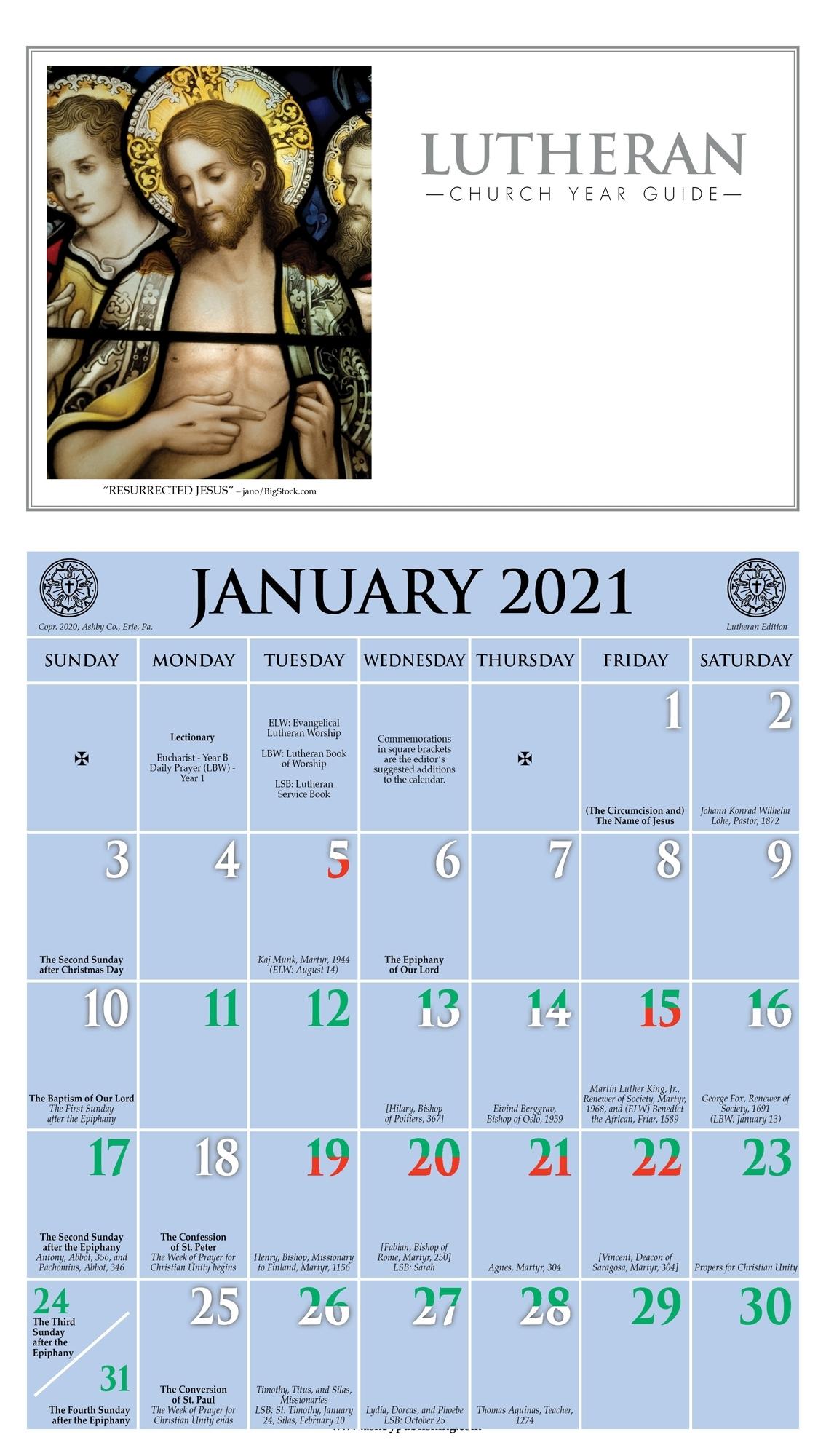 2021 Church Year Calendar with A Liturgical Calendar For The Year 2020