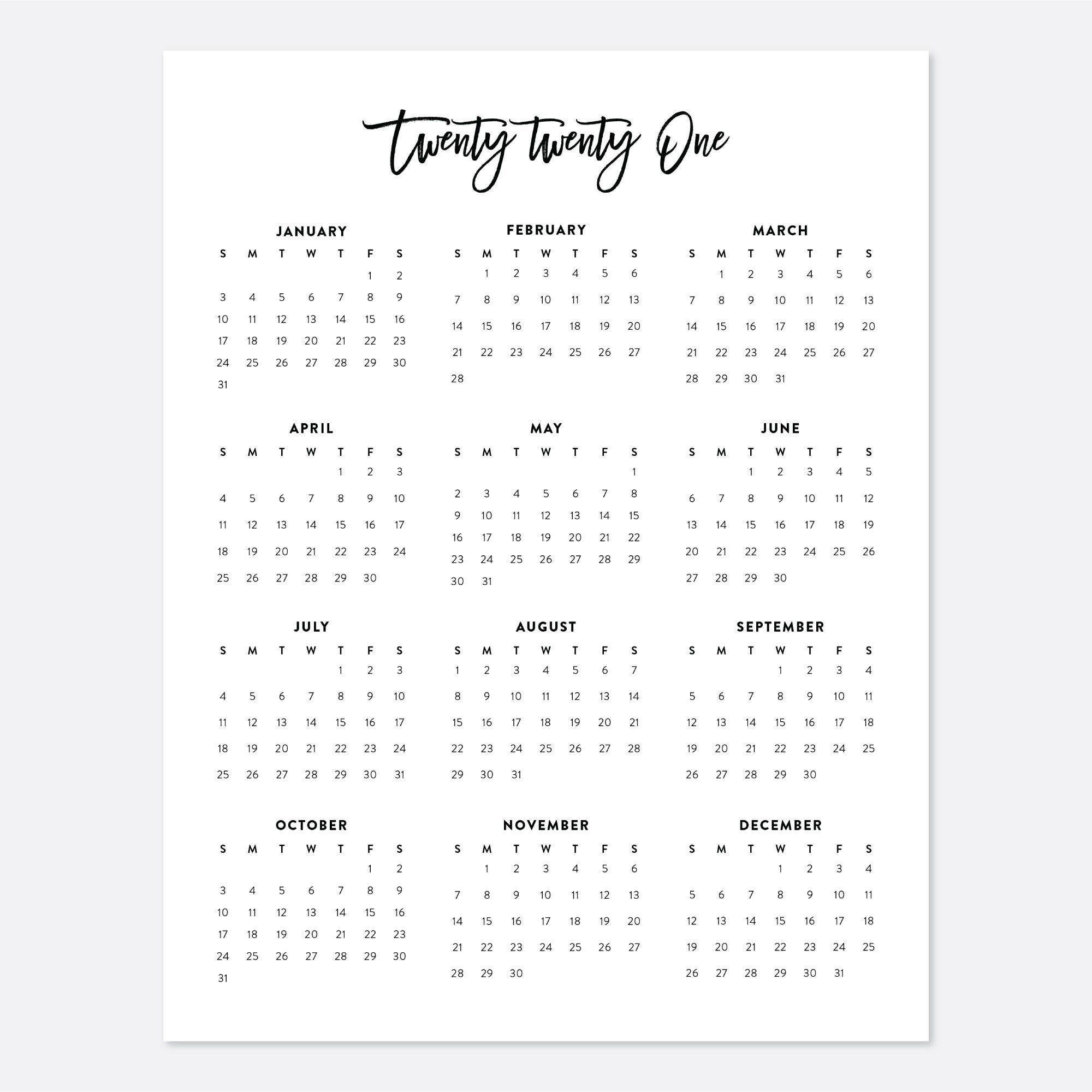 2021 Desk Calendar Printable Calendar 2021 Calendar Year throughout Inspiration Calendar At A Glance