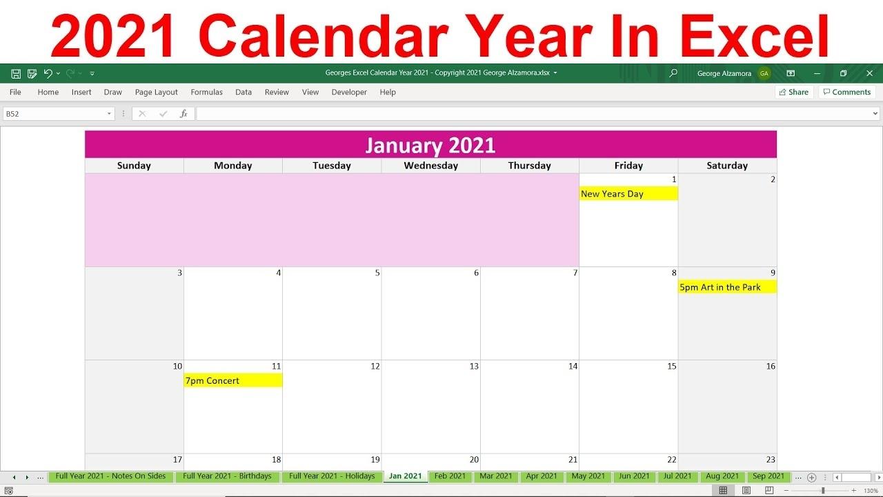 2021 Excel Calendar Spreadsheet, Monthly Calendar, Year At A Glance,  Printable Calendar, Yearly