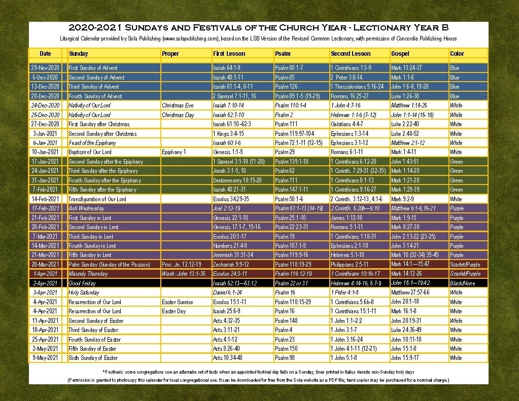 2021 Liturgical Calendar (Year B) K-2021 | Sola Publishing