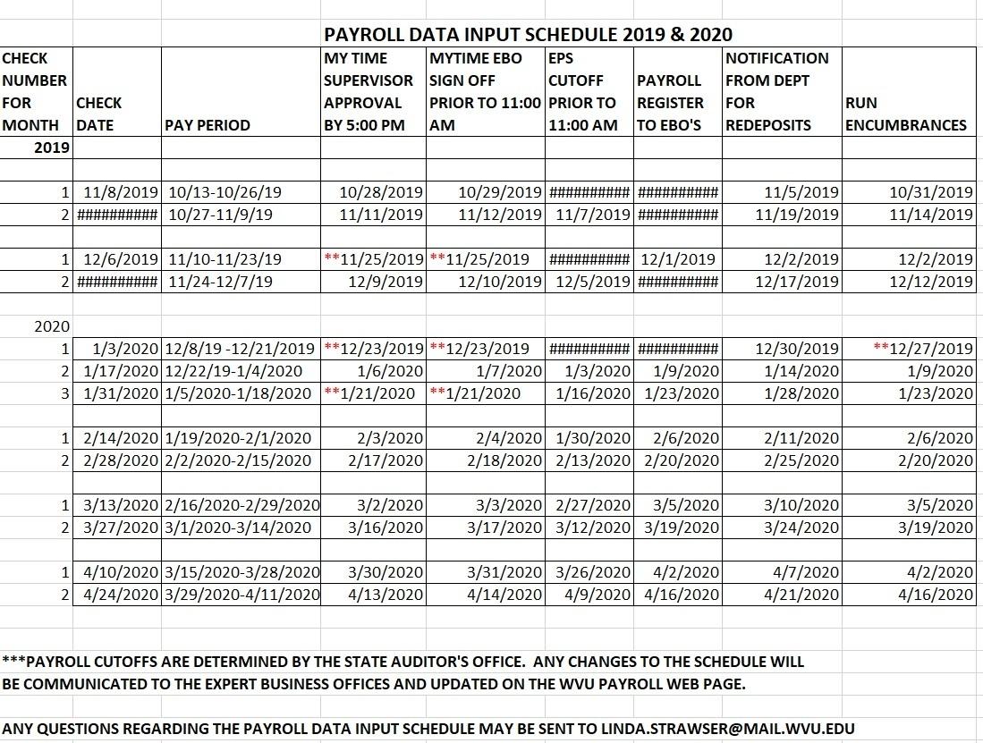 2021 Pay Periods Calendar
