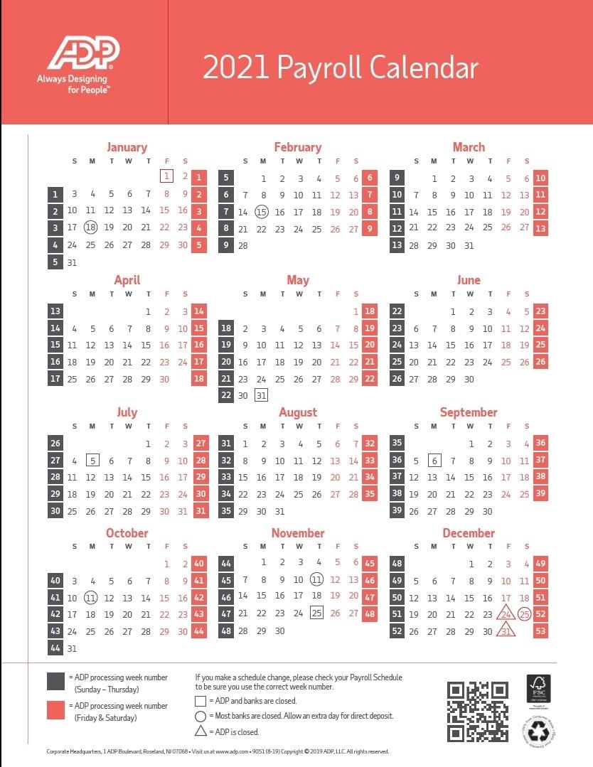 2021 Payroll Calendar Adp – 2021 Pay Periods Calendar