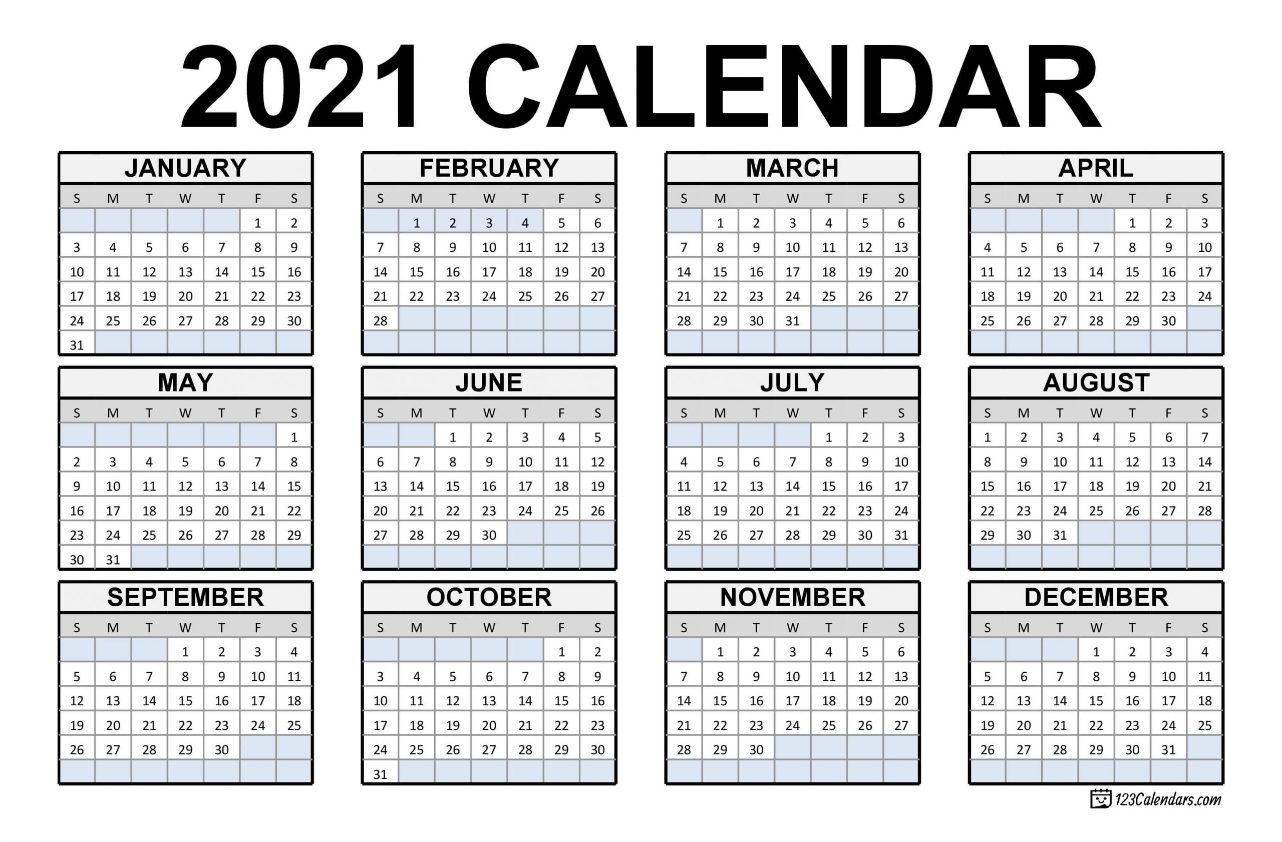 2021 Printable Calendar | 123Calendars for Printable Calendars 2020 Pocket Size