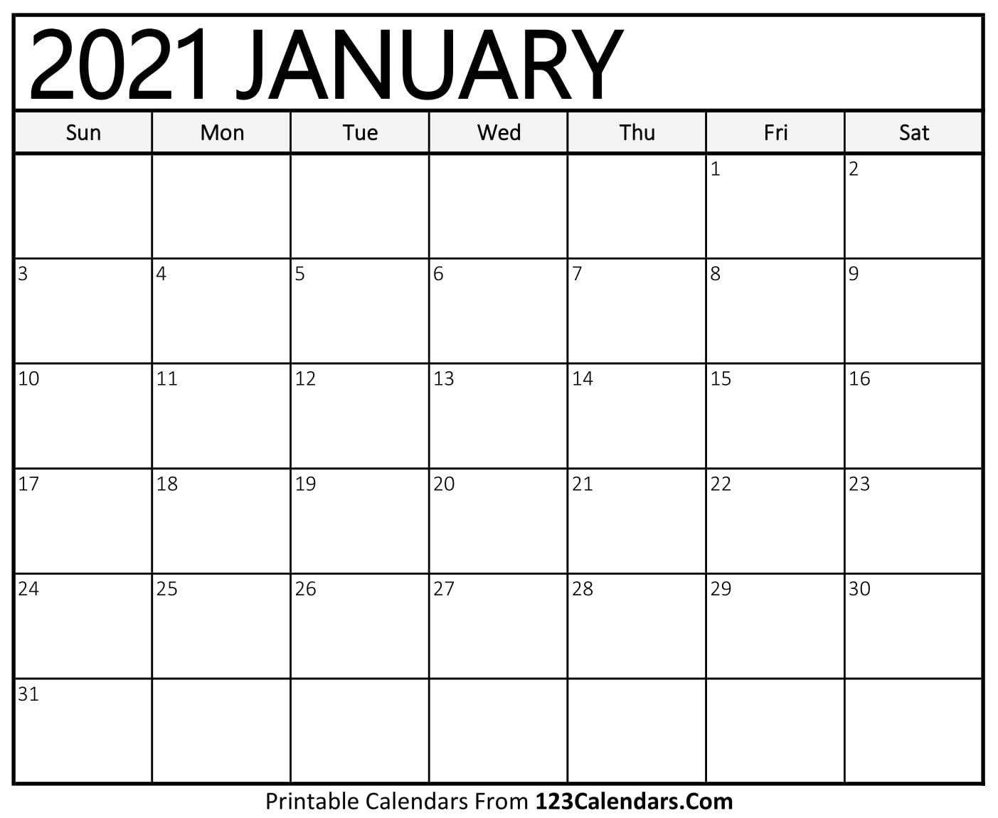 2021 Printable Calendar | 123Calendars with Year Calendar 2020 With Space To Write Int