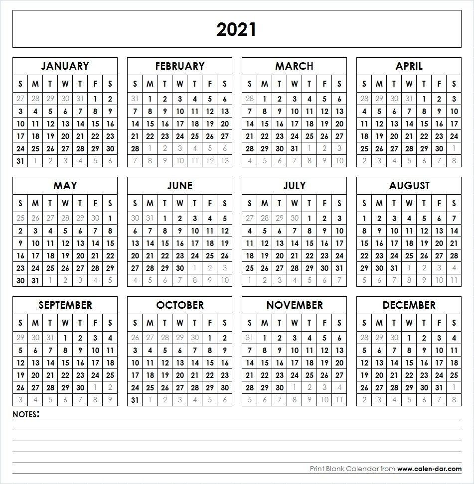 2021 Printable Calendar In 2020 | Printable Yearly Calendar
