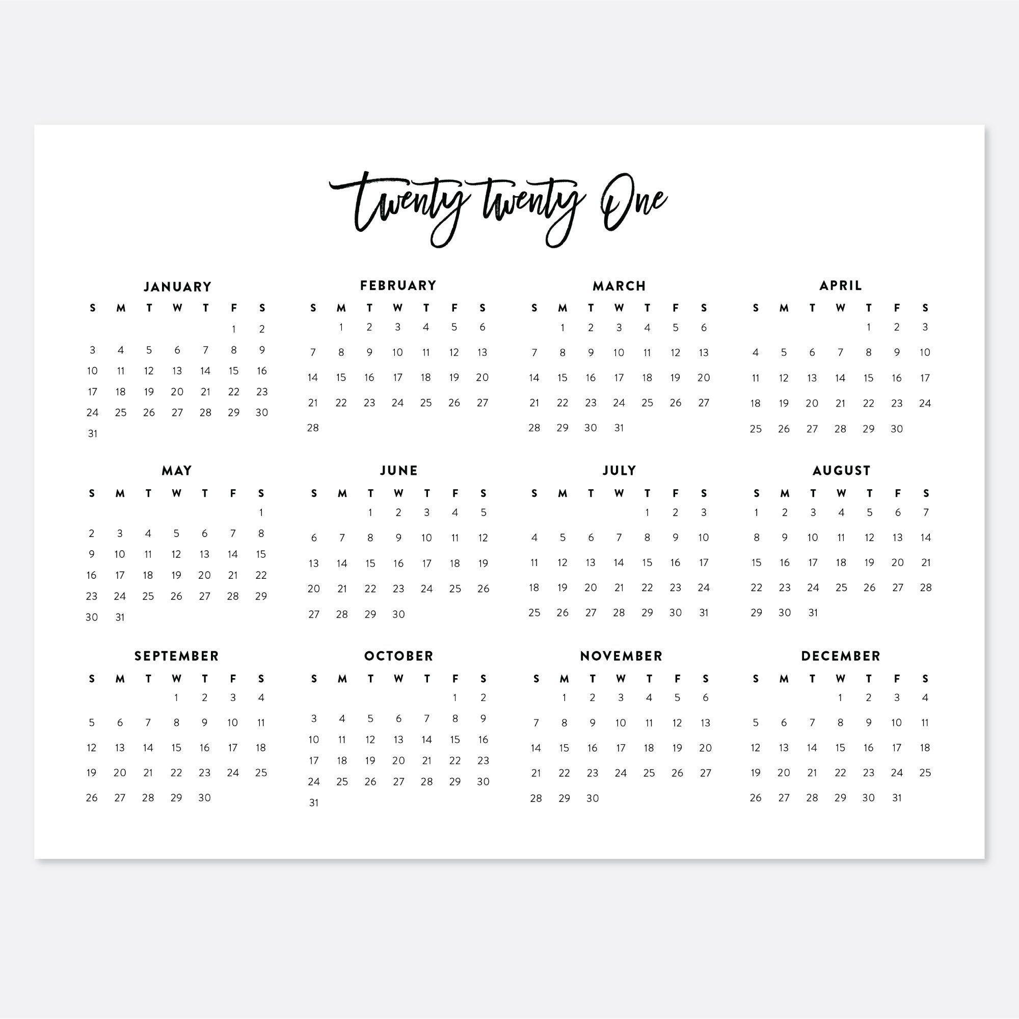 2021 Printable Landscape Desk Calendar 2021 Year Wall | Etsy