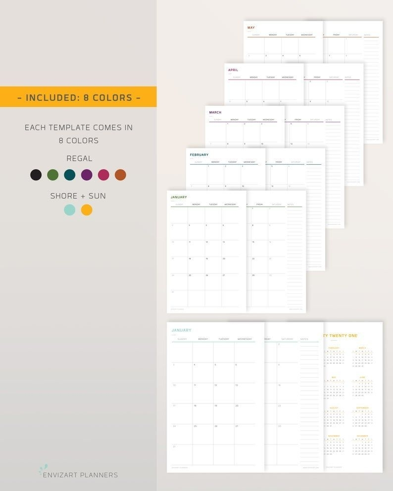 2021 Printable Monthly Calendar Half Page Layout Monday