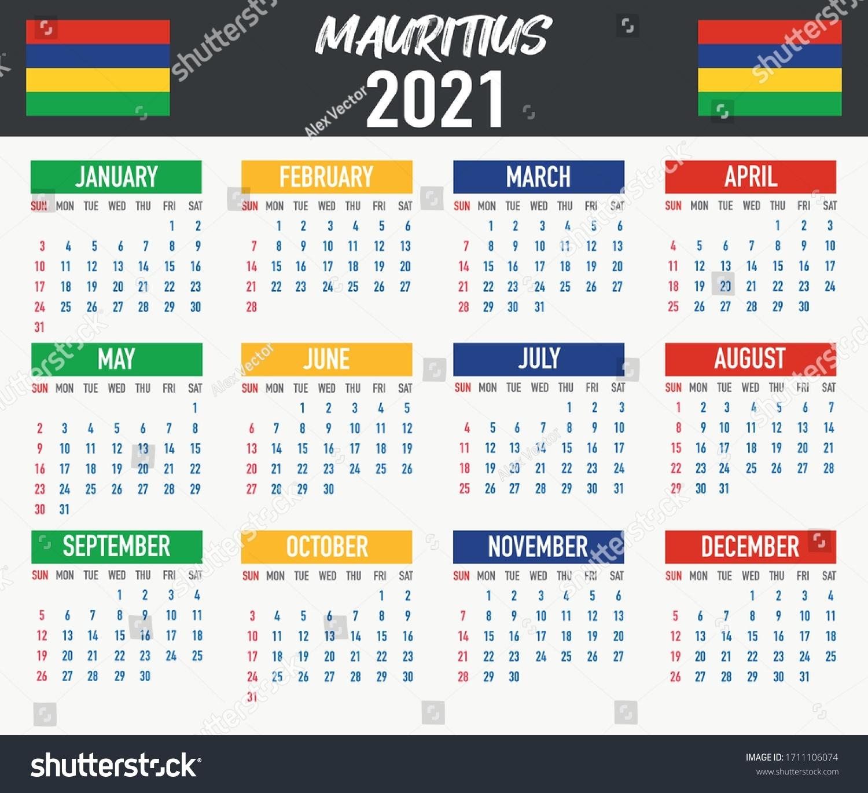 2021 Year Calendar National Flag Country Stock Vector