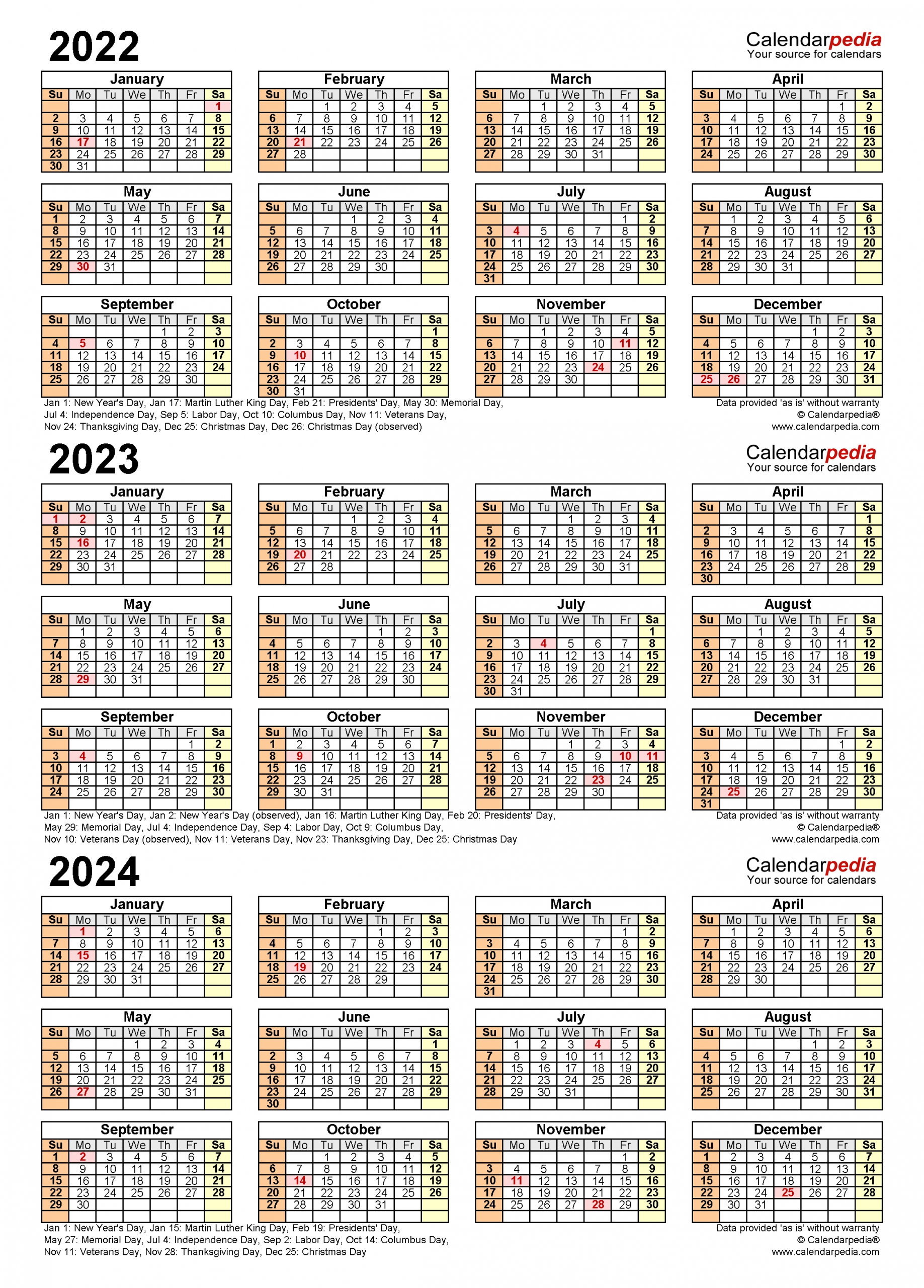 2022-2024 Three Year Calendar - Free Printable Pdf Templates