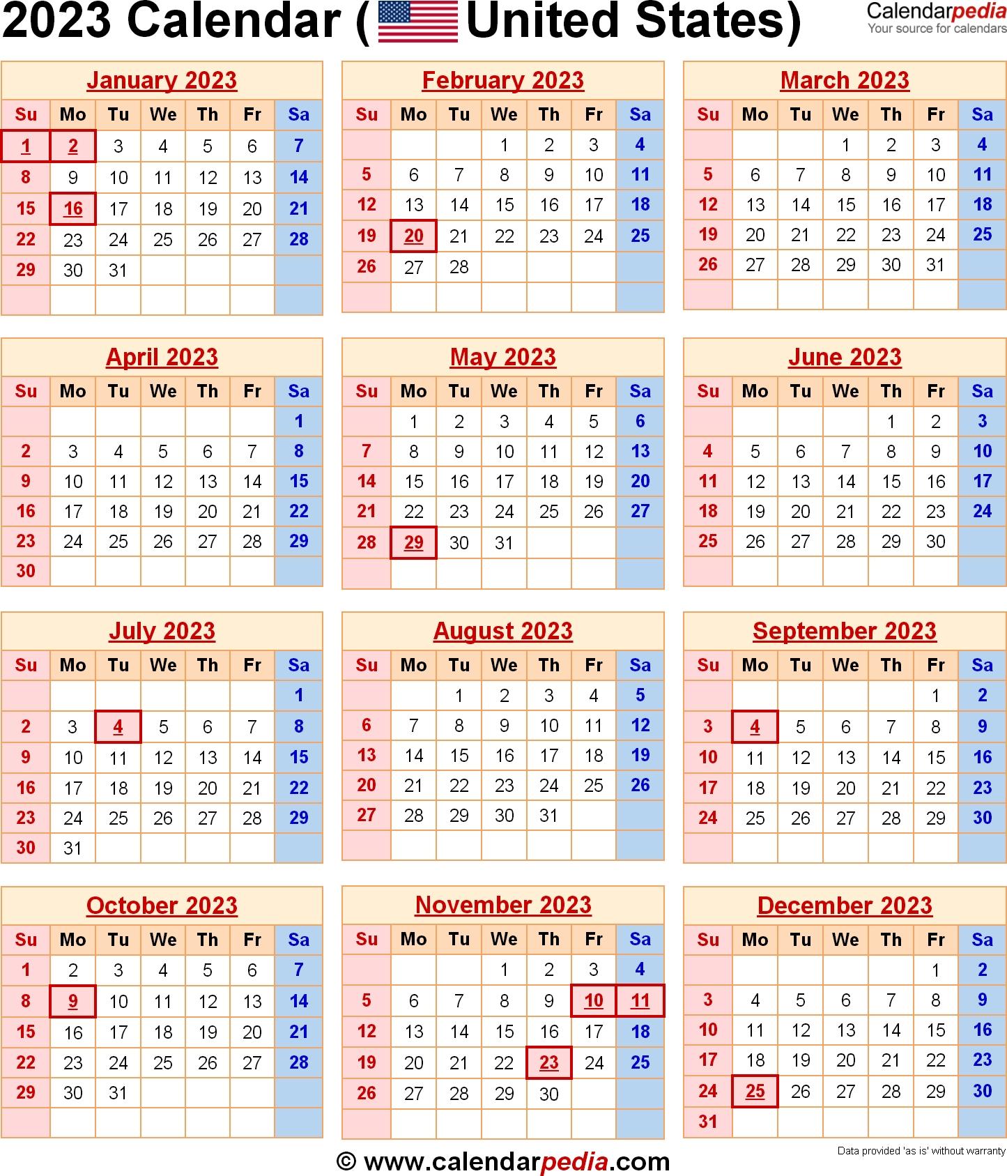 2023 Calendar With Federal Holidays