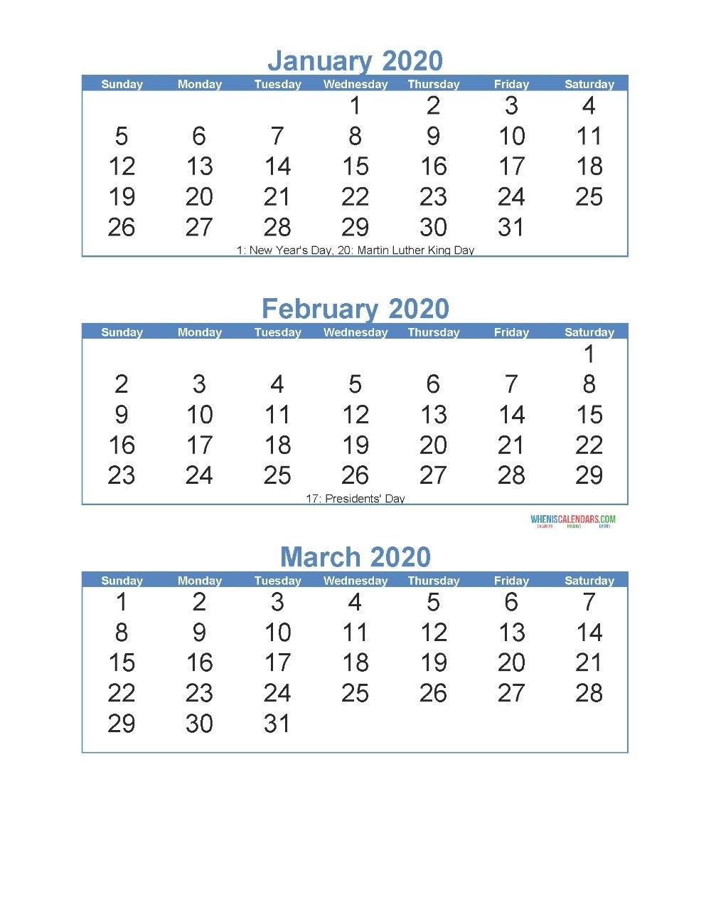 3 Month Calendar 2020 Printable Di 2020