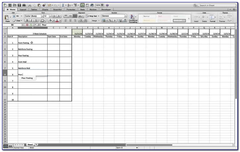 3 Week Look Ahead Schedule Template Excel | Vincegray2014