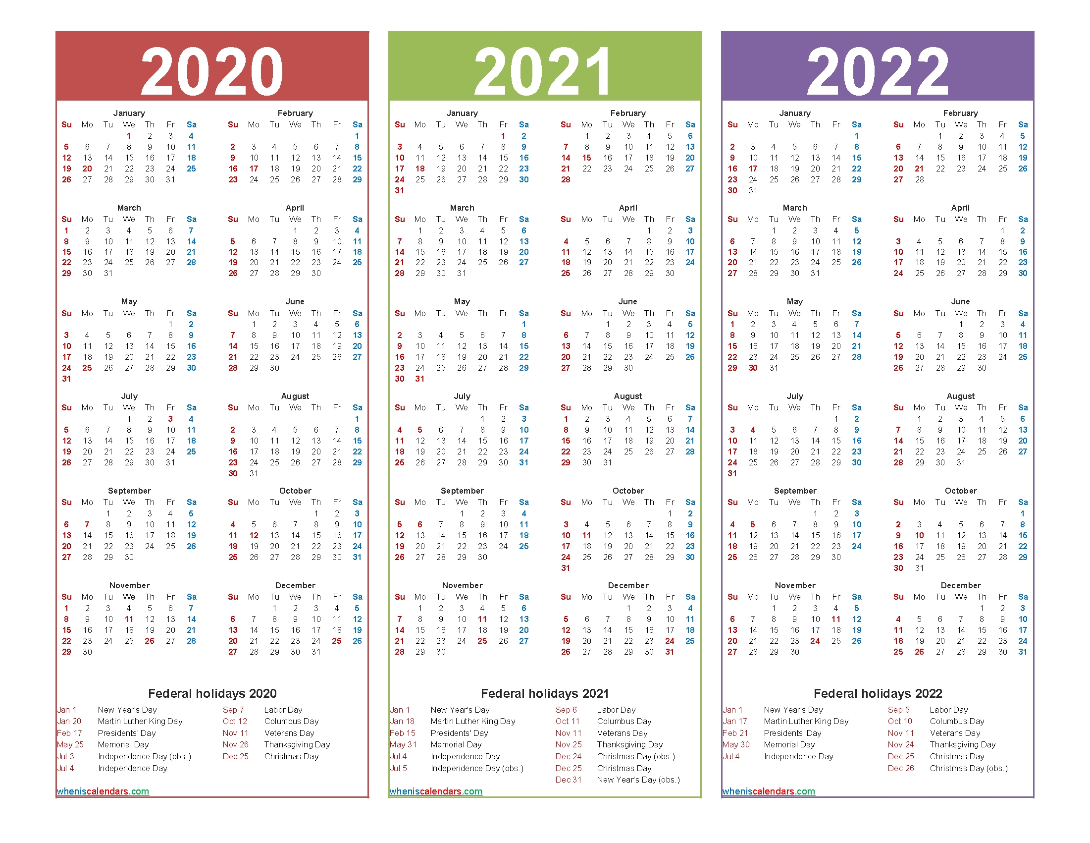 3 Year Calendar 2020 To 2022 Calendar With Holidays pertaining to Calendar For 2020 2021 2022