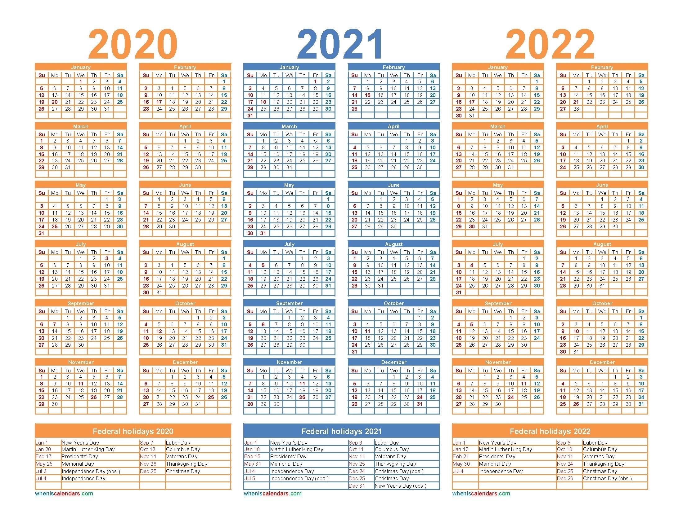 3 Year Calendar 2021 To 2023 In 2020 | Calendar Template