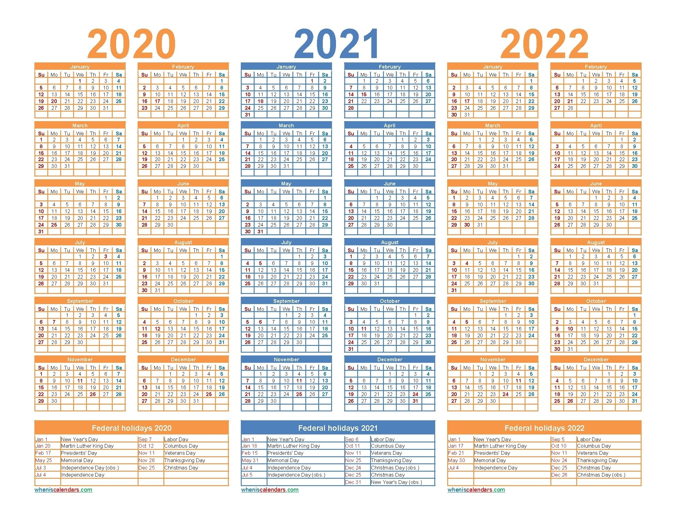 3 Year Calendar 2021 To 2023 In 2020 | Calendar Template