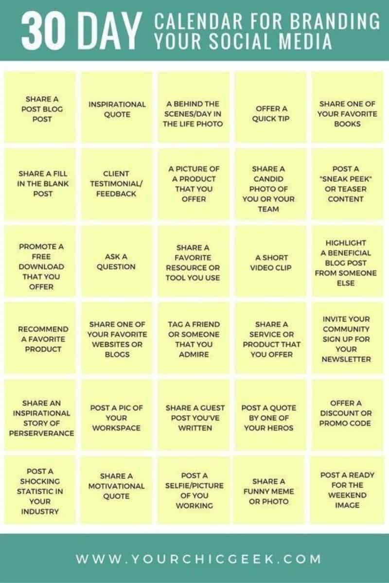 30 Day Social Media Branding Calendar | Mavsocial