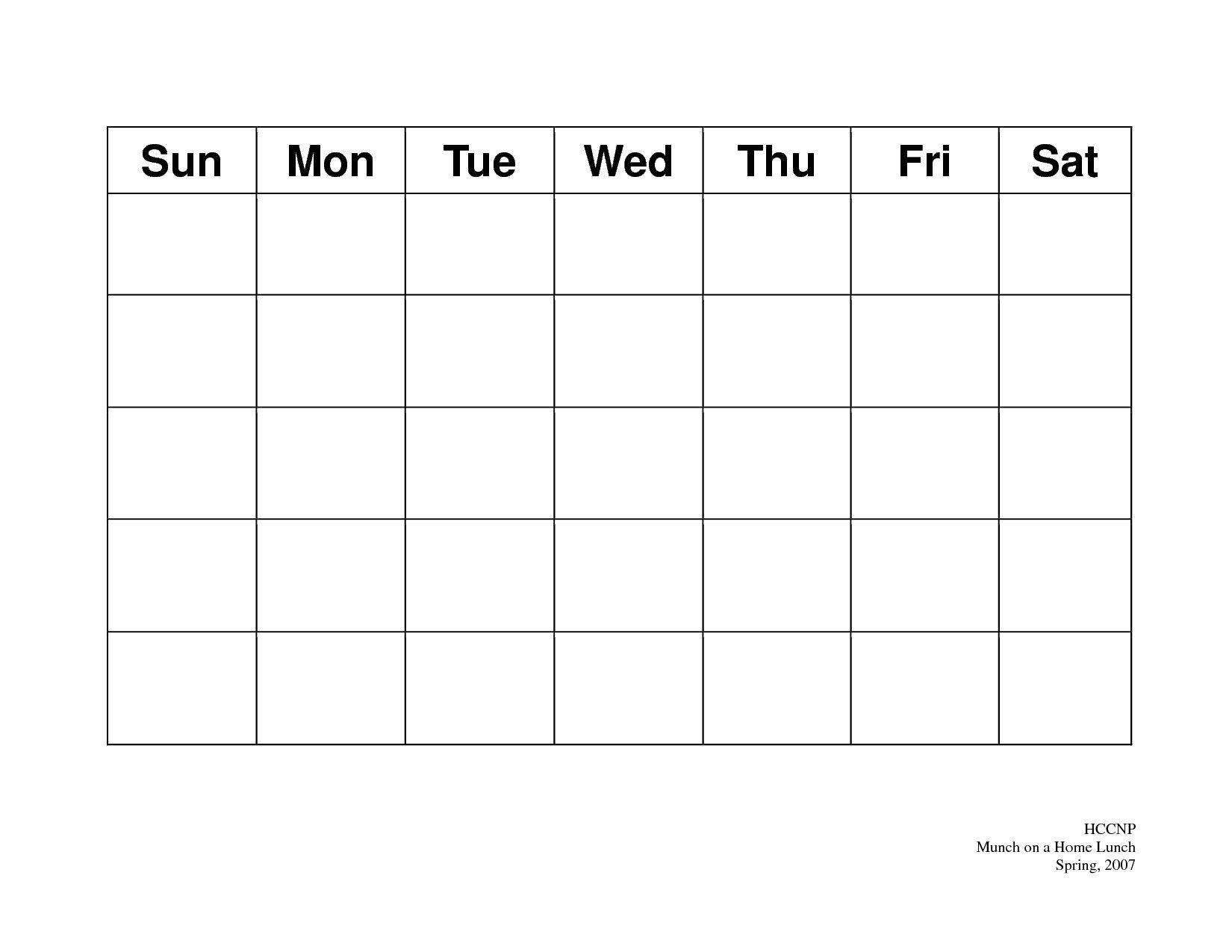 31 Day Blank Calendar Template In 2020 | Blank Calendar