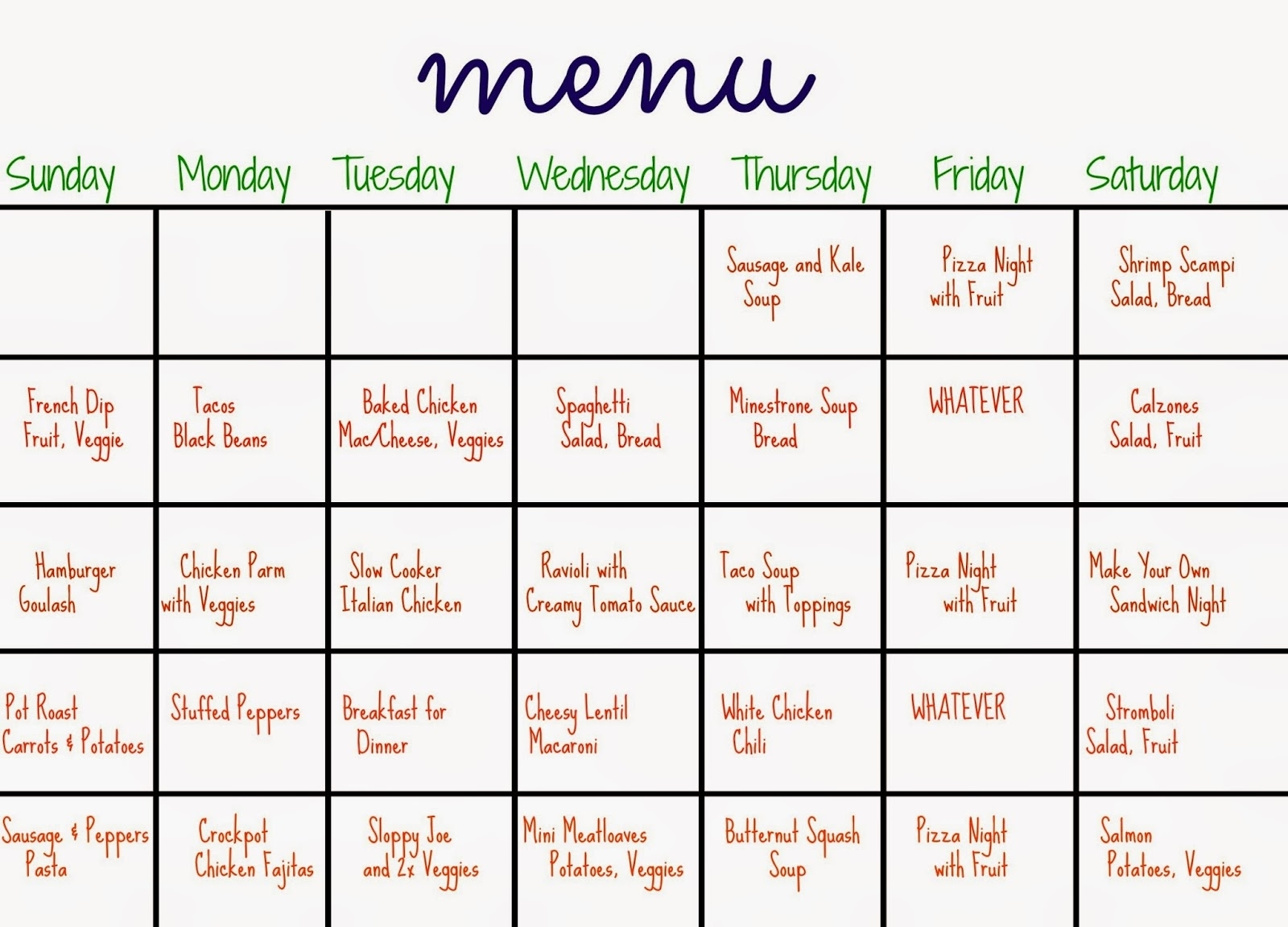 31 Days Of Dinners: A Menu Plan For The Whole Month - The