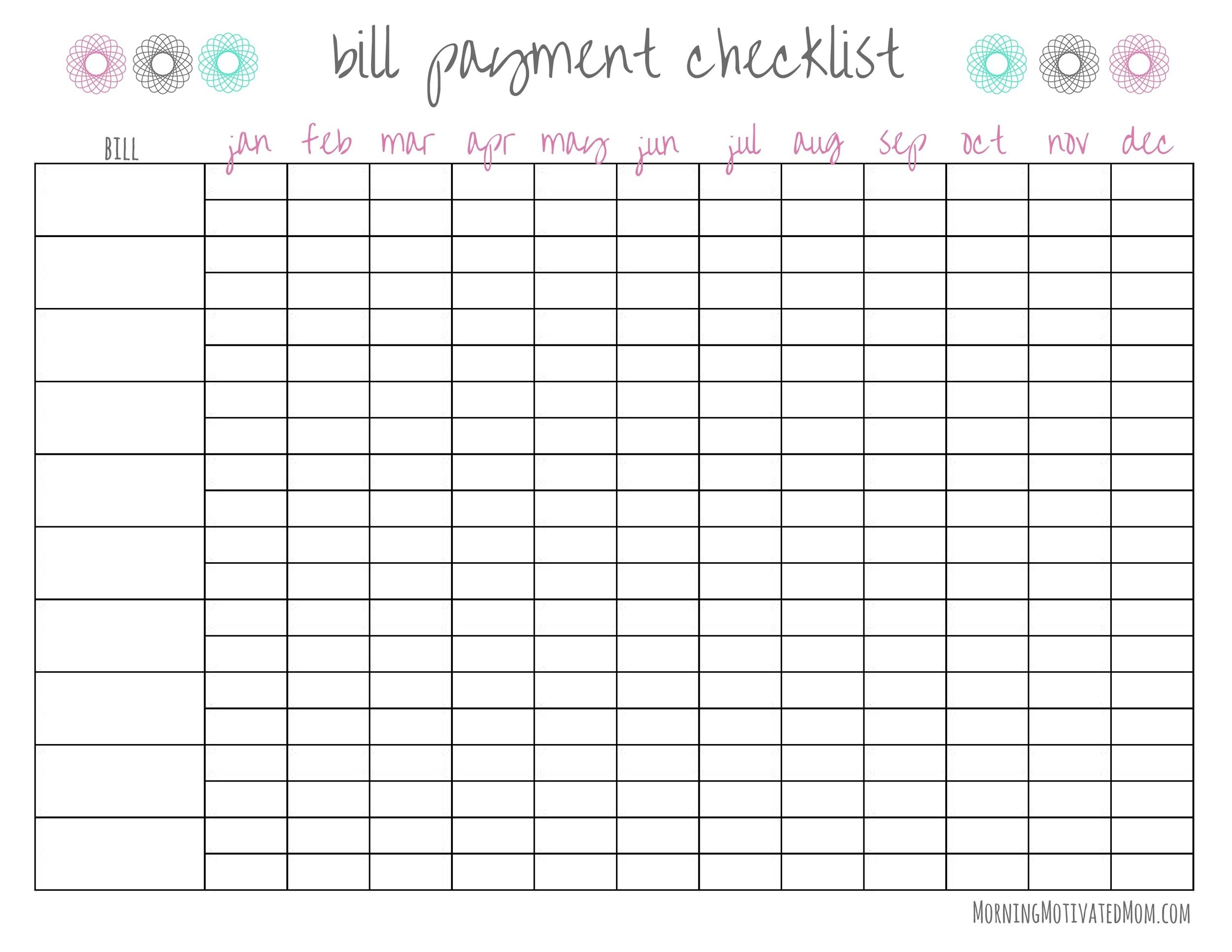 33 Free Bill Pay Checklists & Bill Calendars (Pdf, Word & Excel)