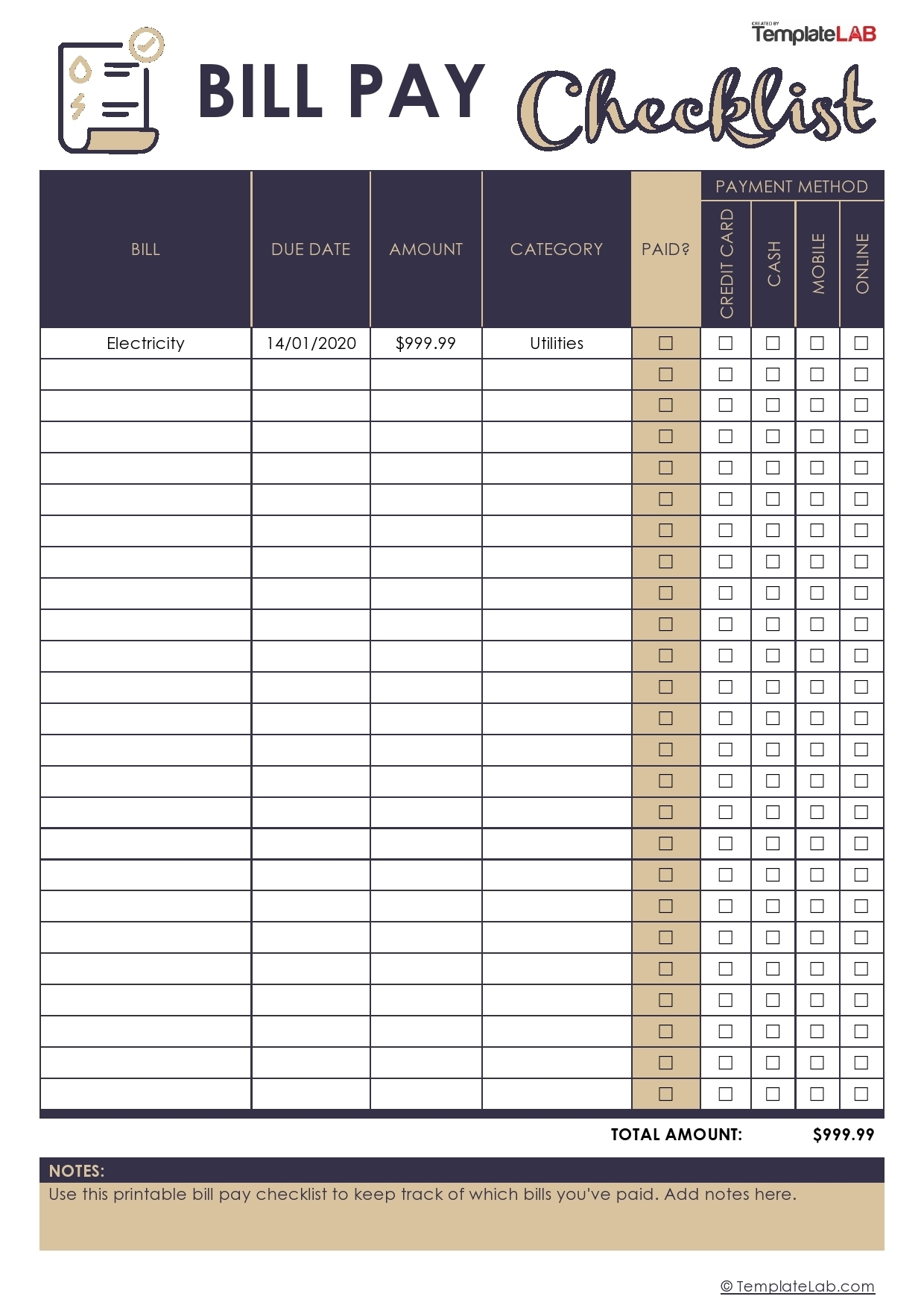 33 Free Bill Pay Checklists & Bill Calendars (Pdf, Word & Excel) within 30 Day Blank Calendar For Bills Due