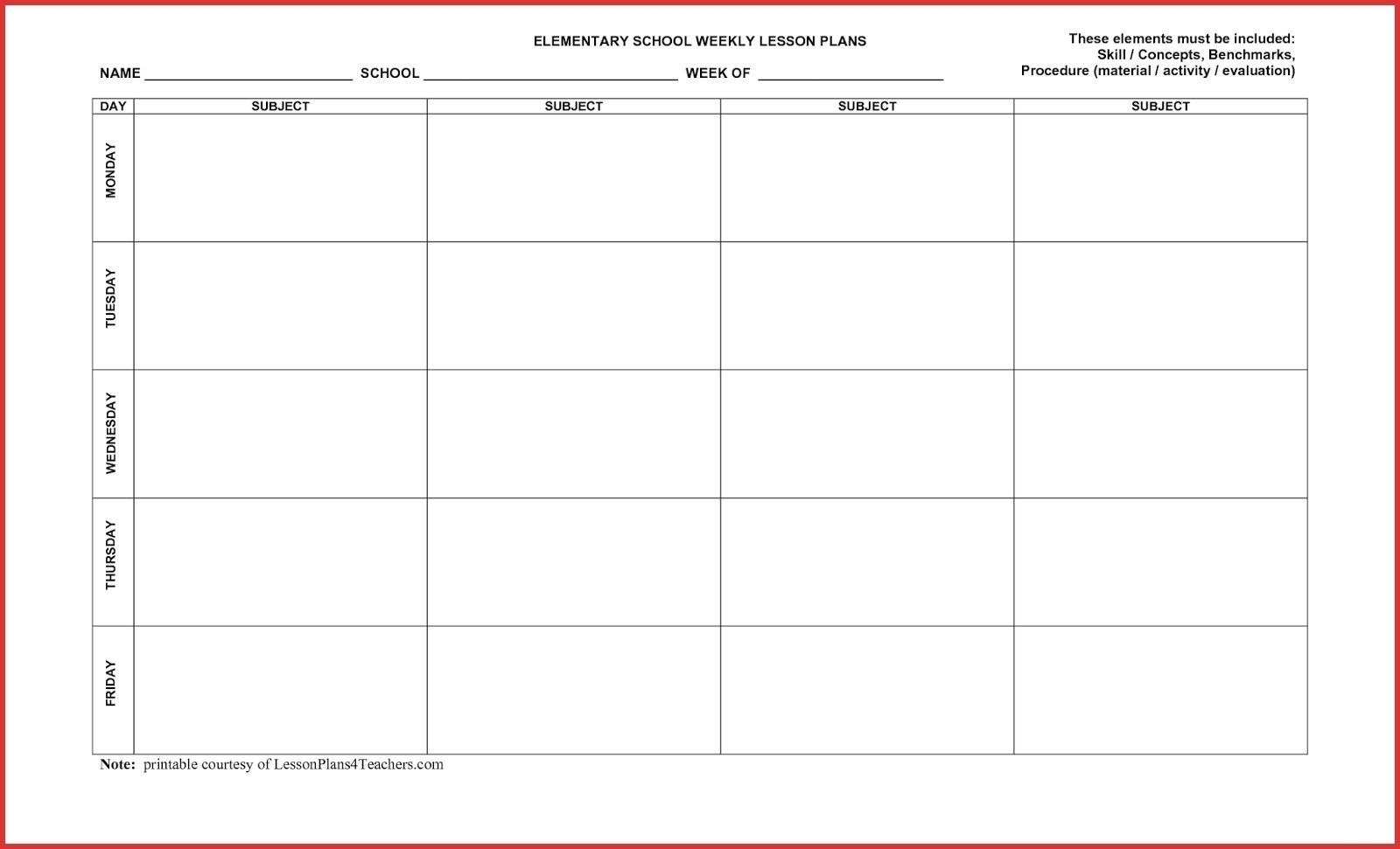 5 Day Calendar Monthly In 2020 | Lesson Plan Template Free