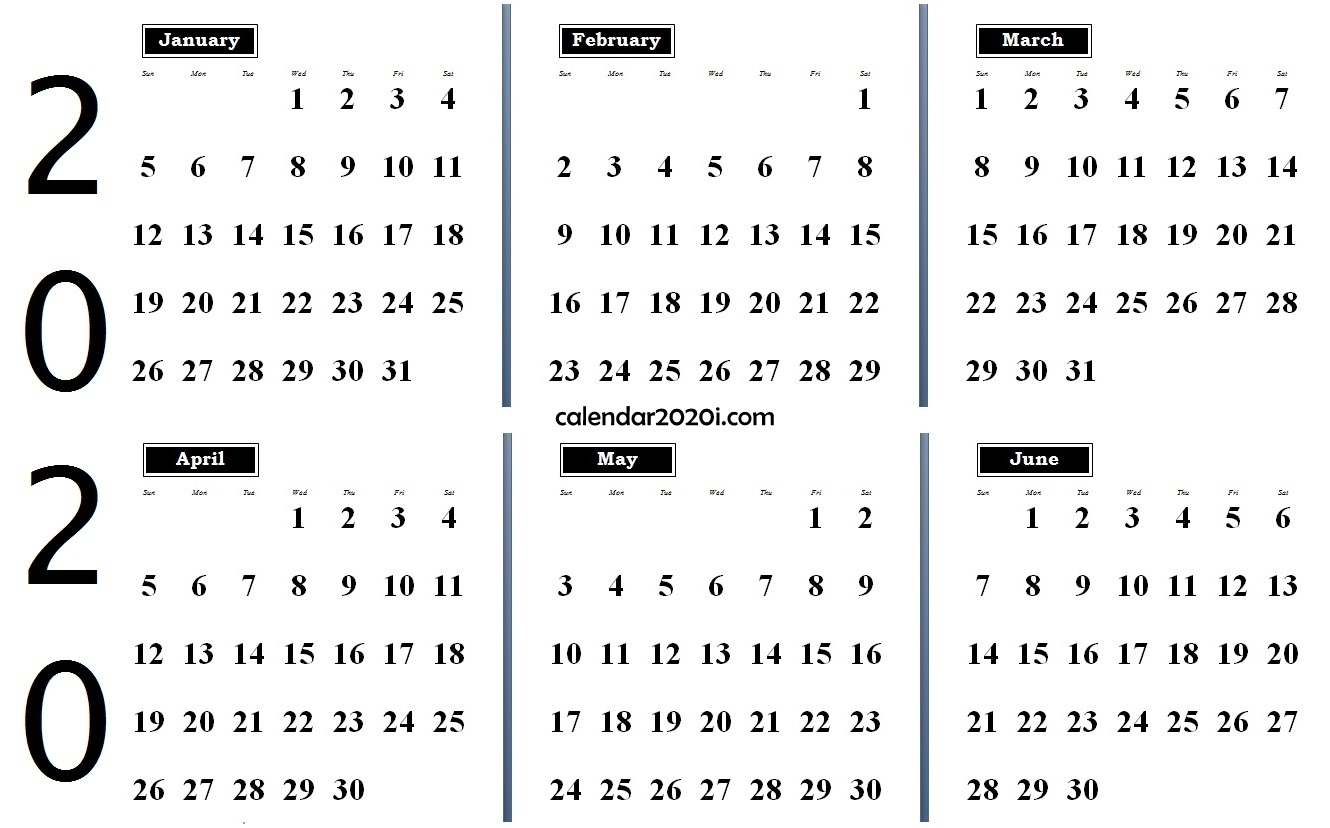 6 Months 2020 Half Year Printable Calendar | Calendar 2020 within Free Half Page 2020 Monthly Calanders