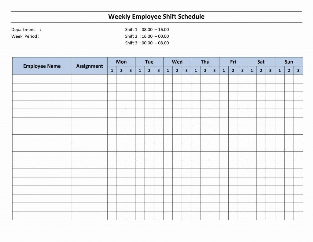 7 Day Employee Schedule Template | Blank Calendar Template 7