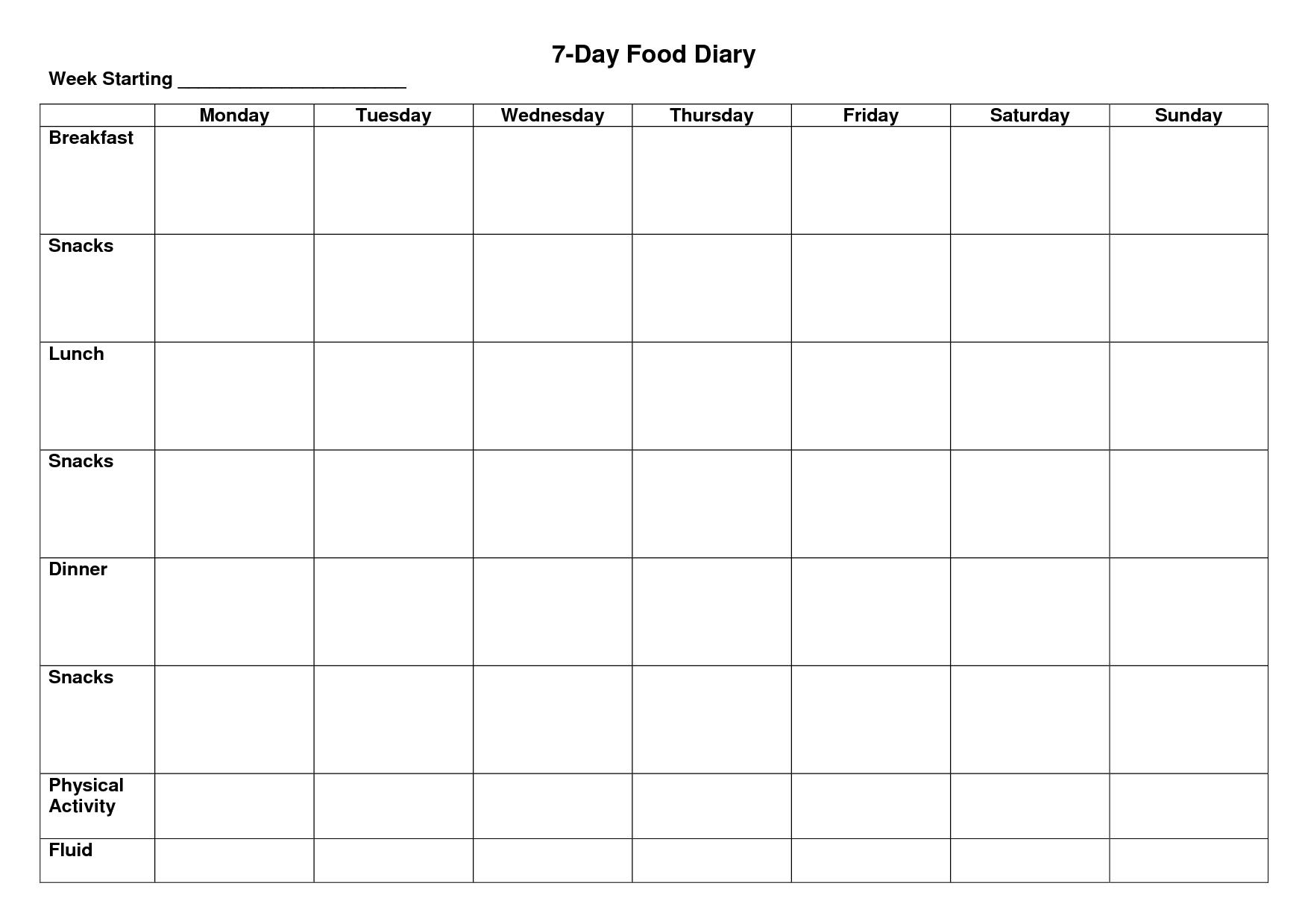 7-Day Food Diary Template | Food Diary Template, Diary