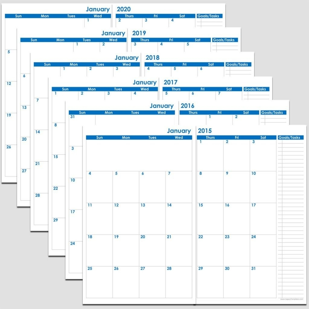 72-Months 2-Page Calendar – 2015-2020 – 5 1/2″ X 8 1/2