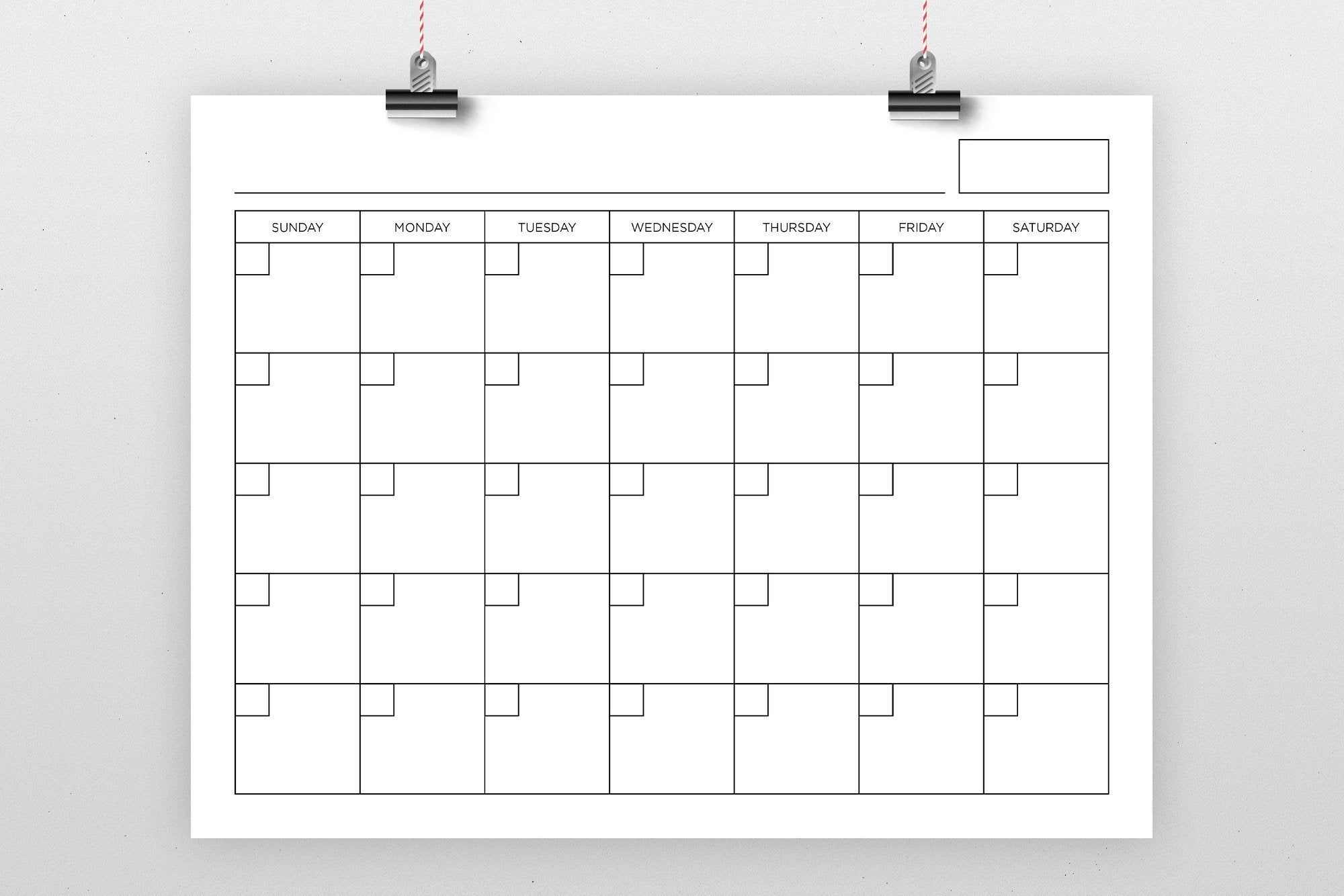 8.5 X 11 Inch Blank Calendar Page Template Instant Download
