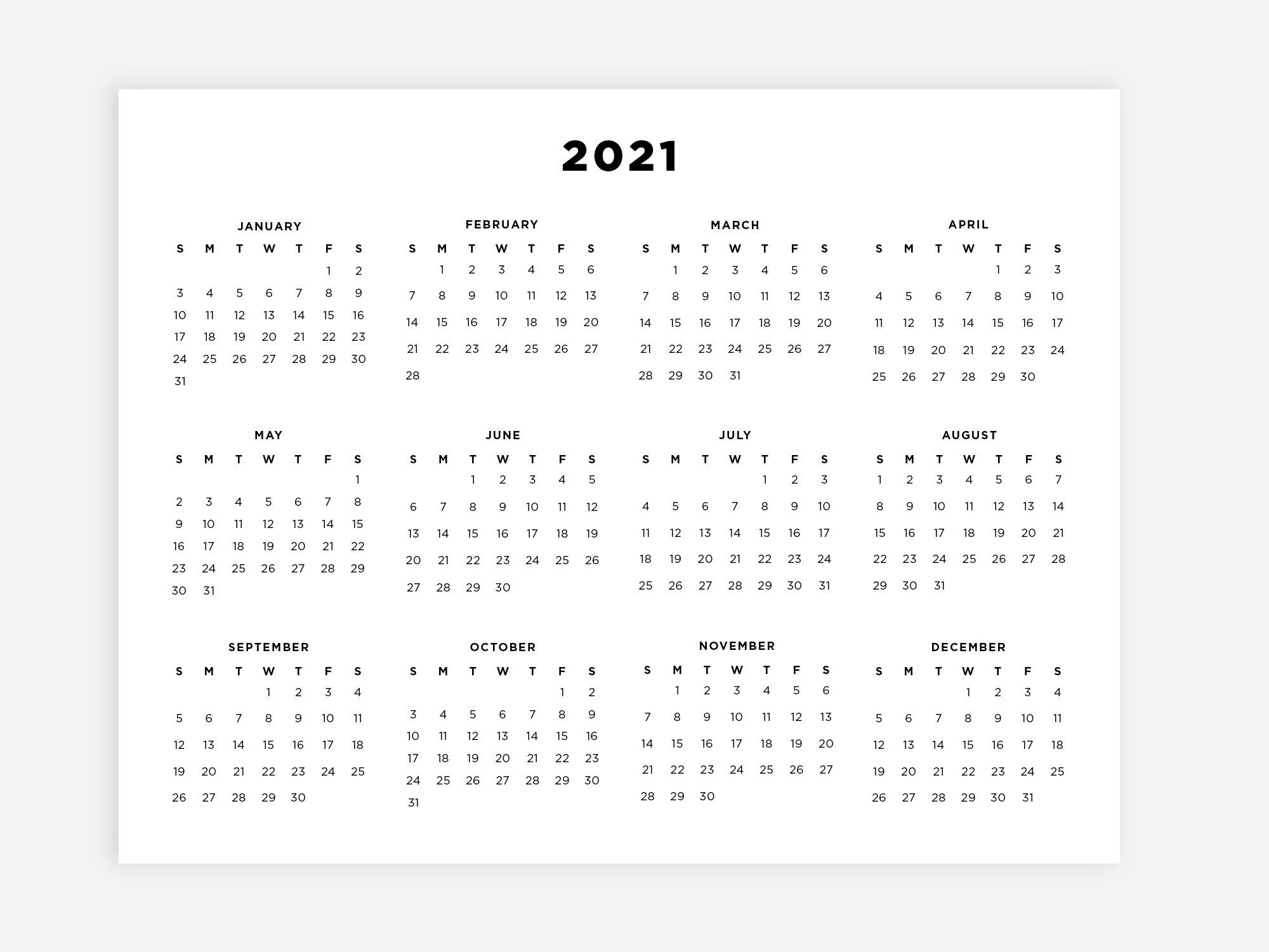 8.5X11 Printable 2021 Calendar, Letter Calendar, 2021 Year