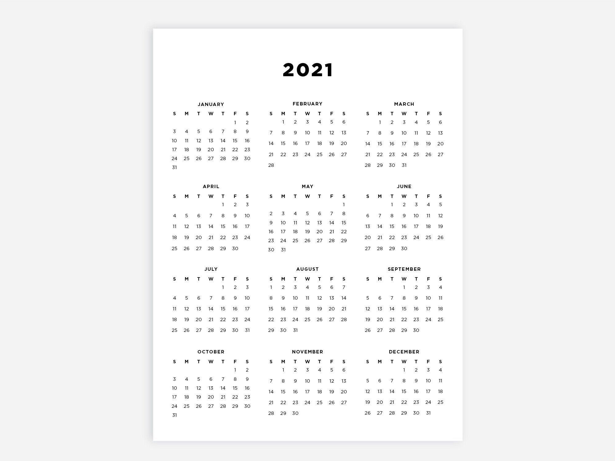 8.5X11 Printable Calendar 2021 Letter Calendar 2021 Year inside Year At A Glance Calendar 2020 8.5 X 11