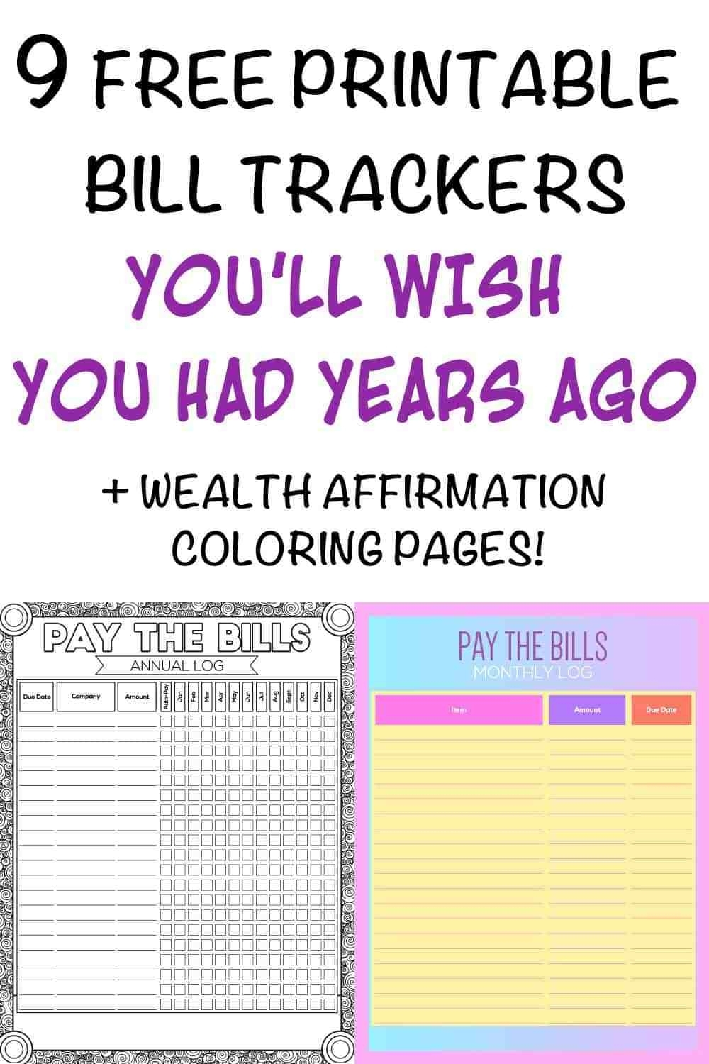 9+ Printable Bill Payment Checklists And Bill Trackers - The