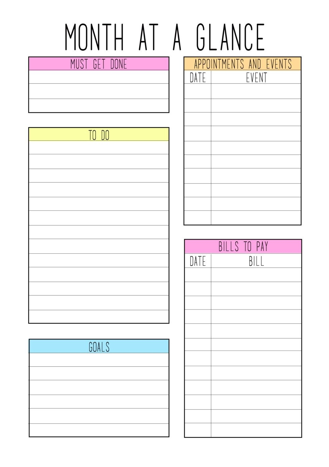 A5 Month At A Glance Color Theme | Planner Pages, Blank