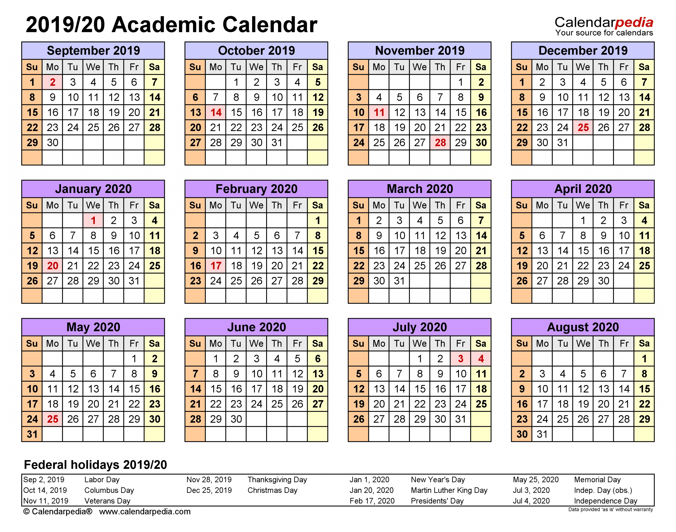Academic Calendars 2019/2020 - Free Printable Word Templates