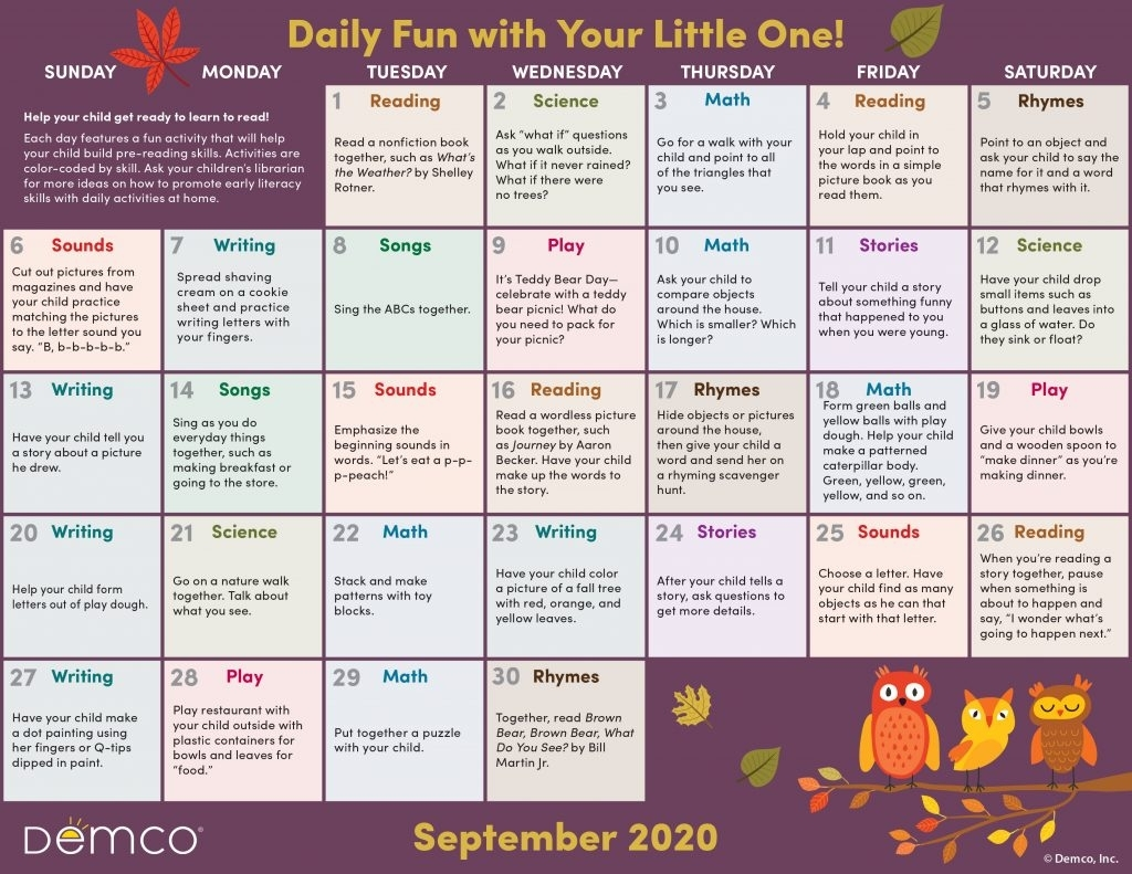 Activity Calendar Archives - Ideas & Inspiration From Demco for Free Printable Children Calendars 2020 That Children Can Draw On