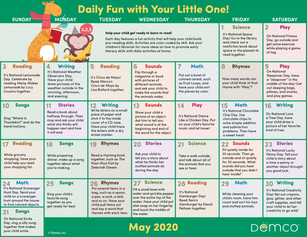 Activity Calendar Archives - Ideas & Inspiration From Demco with Special Days In 2020 That Are Not Down On Calender