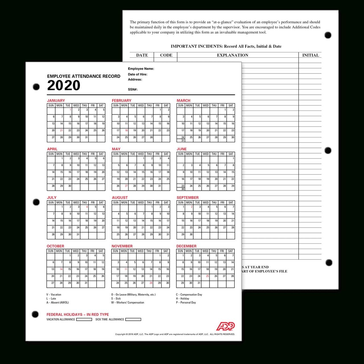 Adp Employee Attendance Record / Calendar throughout Printable Attendance Calendar For 2020