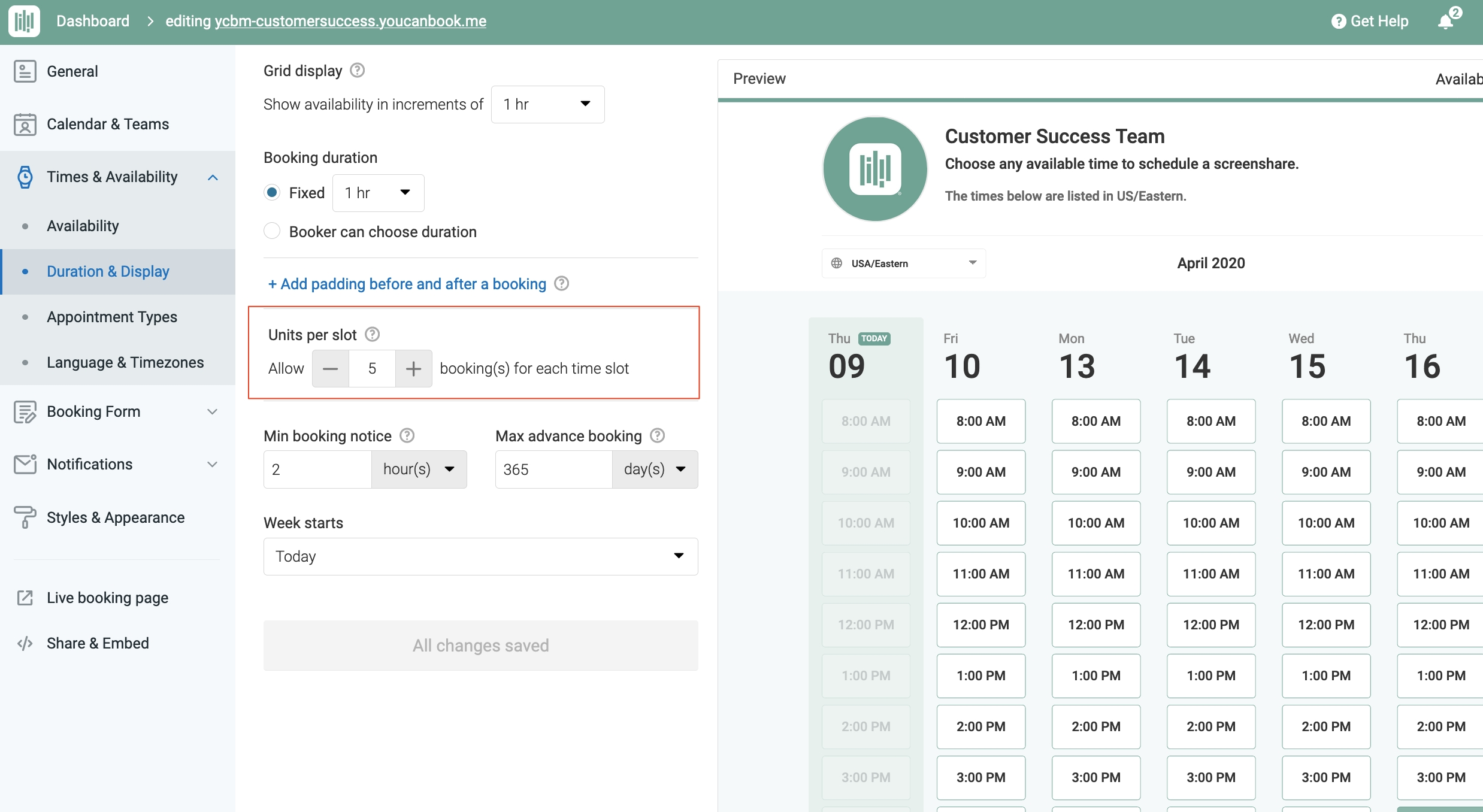 Allowing Multiple Bookings Per Time Slot - Youcanbook Support