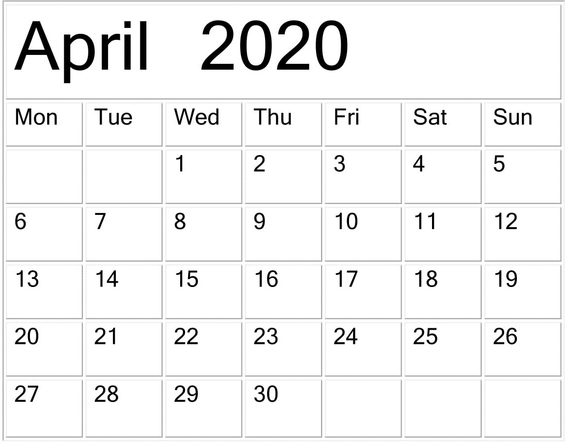 April 2020 Calendar Template Pages Free Download throughout Large Numbers Free Printable Calendar 2020