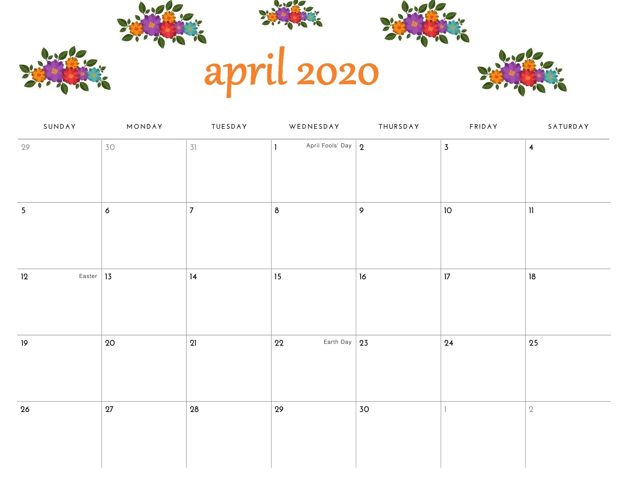 April 2020 Printable Calendar Floral Template In 2020 within Large Box Printable 2020 Calendar