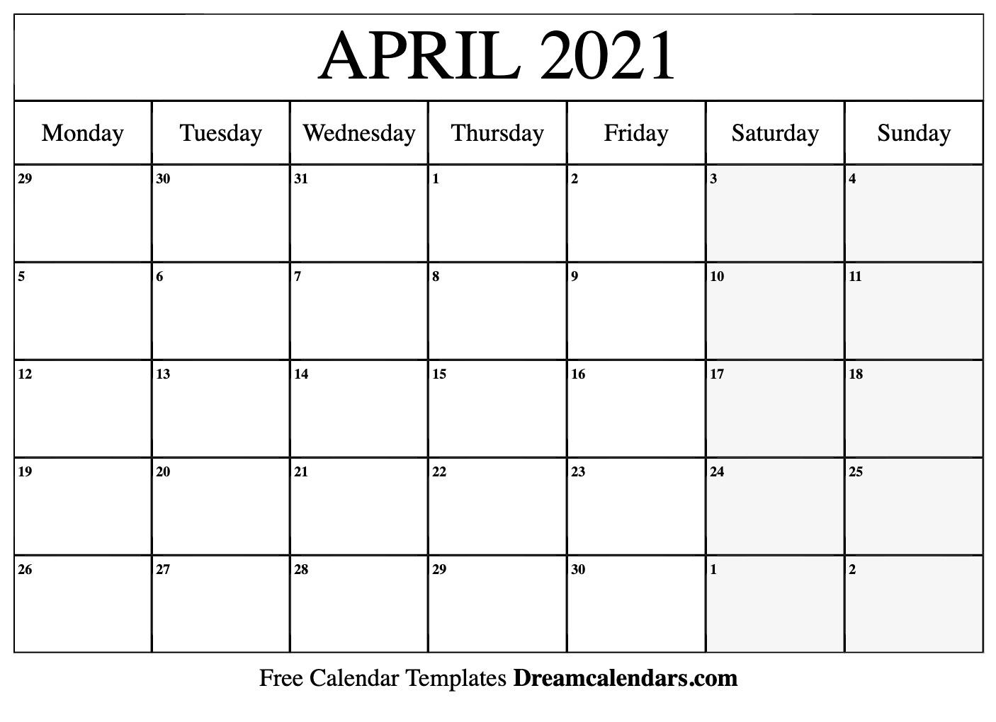 April 2021 Calendar | Free Blank Printable Templates