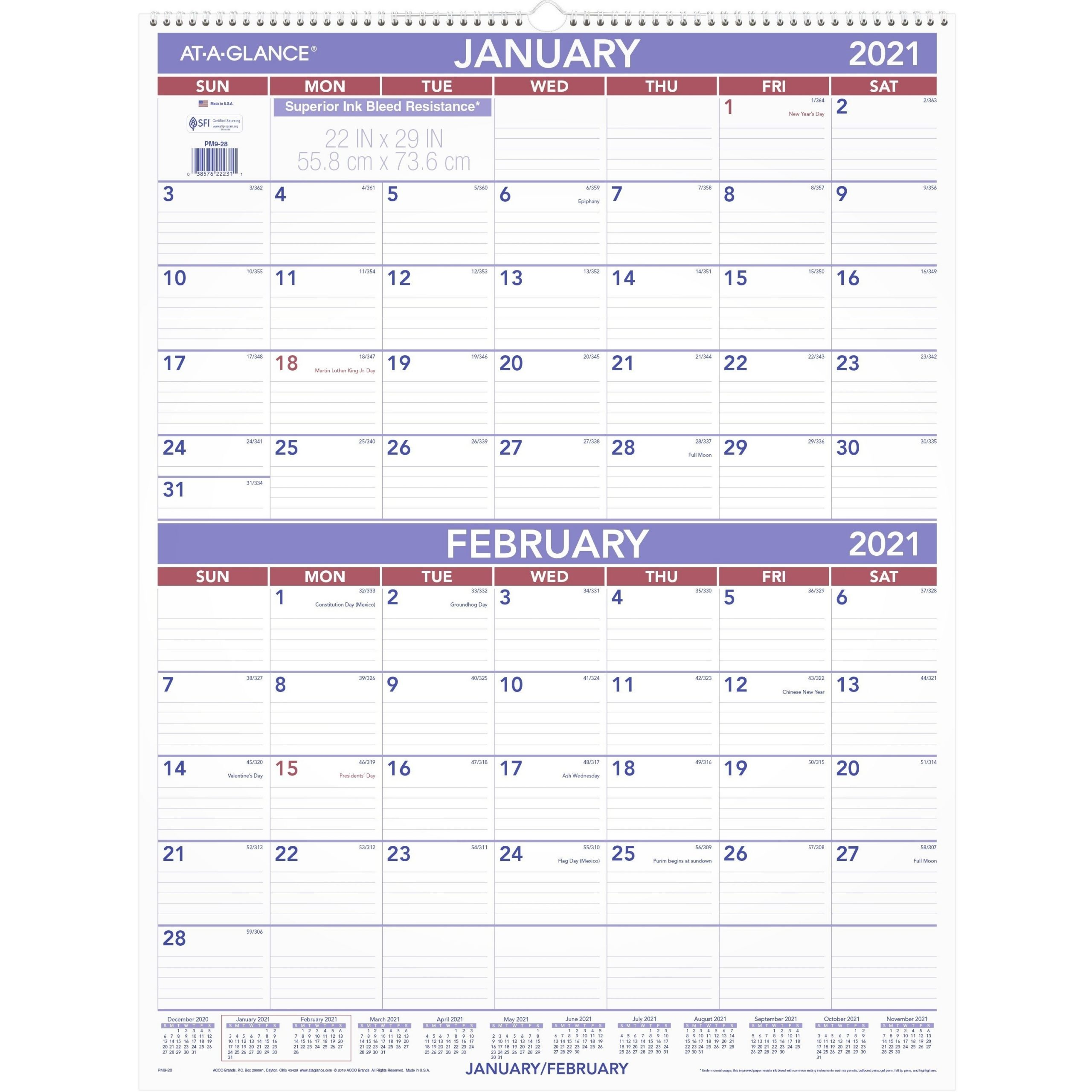 """At-A-Glance 2-Month Wall Calendar - Monthly - 1 Year - January 2021 Till  December 2021 - 2 Month Single Page Layout - 29"""" X 22"""" Sheet Size - 3""""  (76.20"""