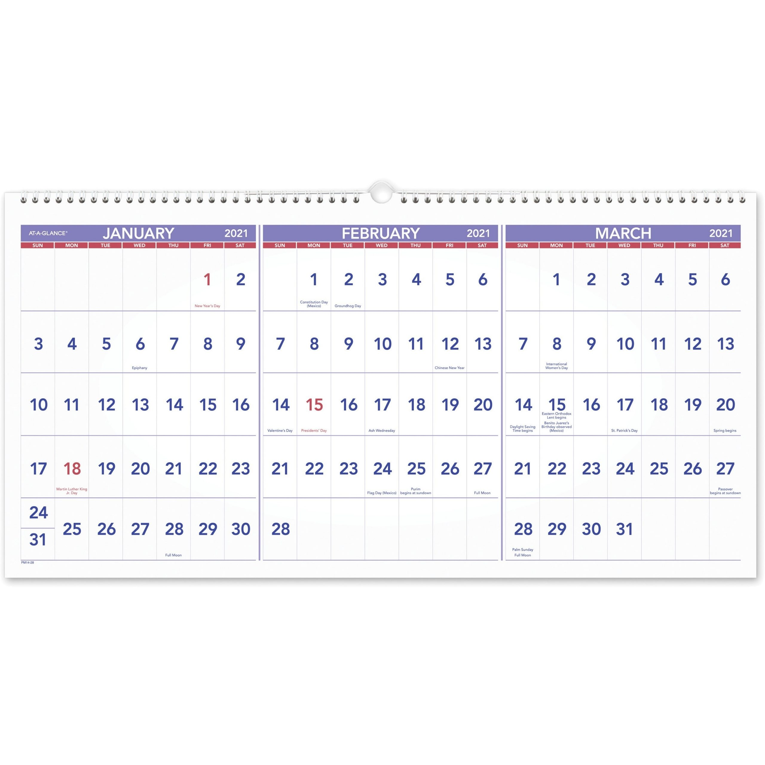 At-A-Glance 3-Month Horizontal Wall Calendar - Julian Dates - Quarterly -  1.2 Year - December 2020 Till February 2022 - 3 Month Single Page Layout -