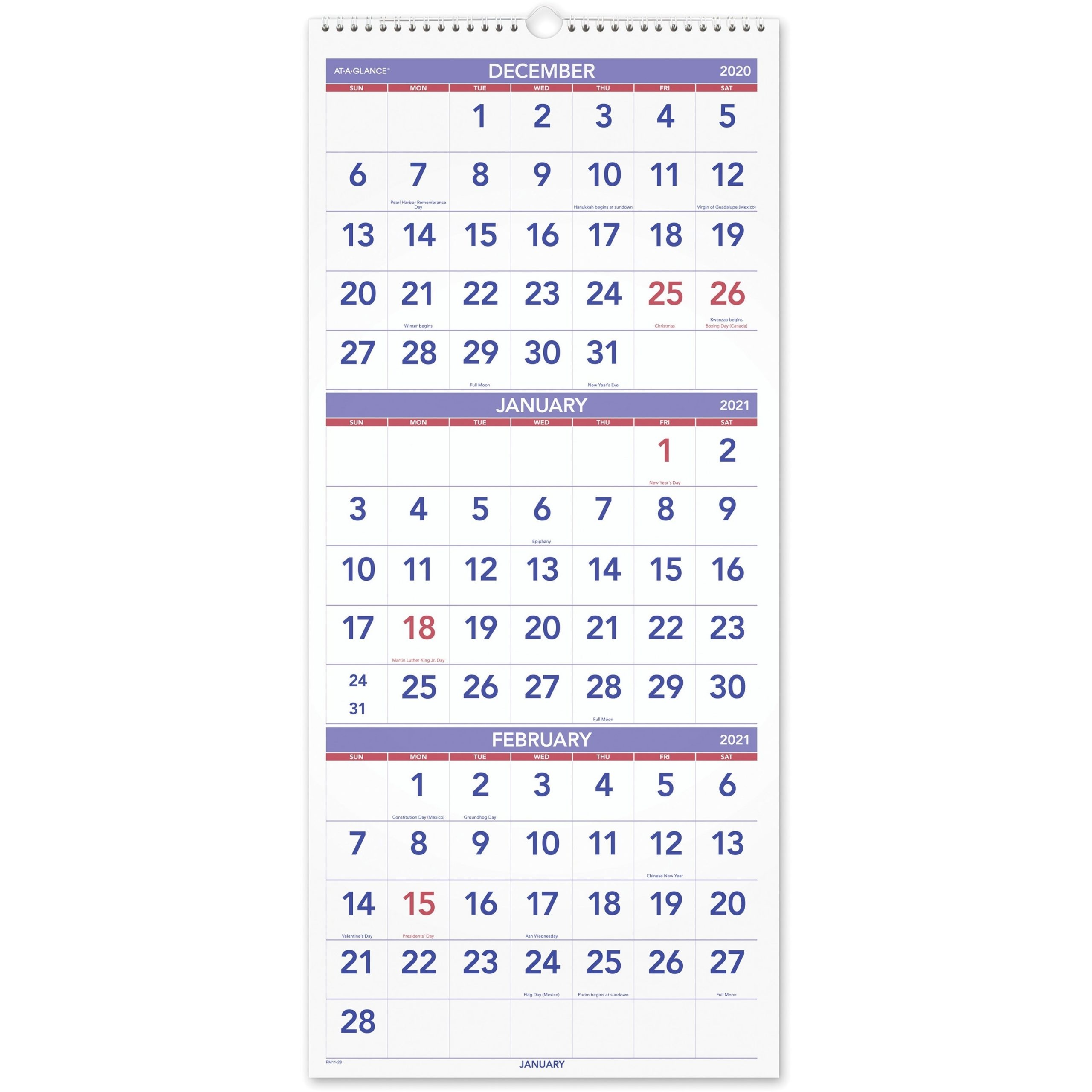 "At-A-Glance 3 Month Reference Wall Calendar - Monthly - 1.2 Year - December  2020 Till January 2022 - 3 Month Single Page Layout - 12 1/4"" X 27"" Sheet"