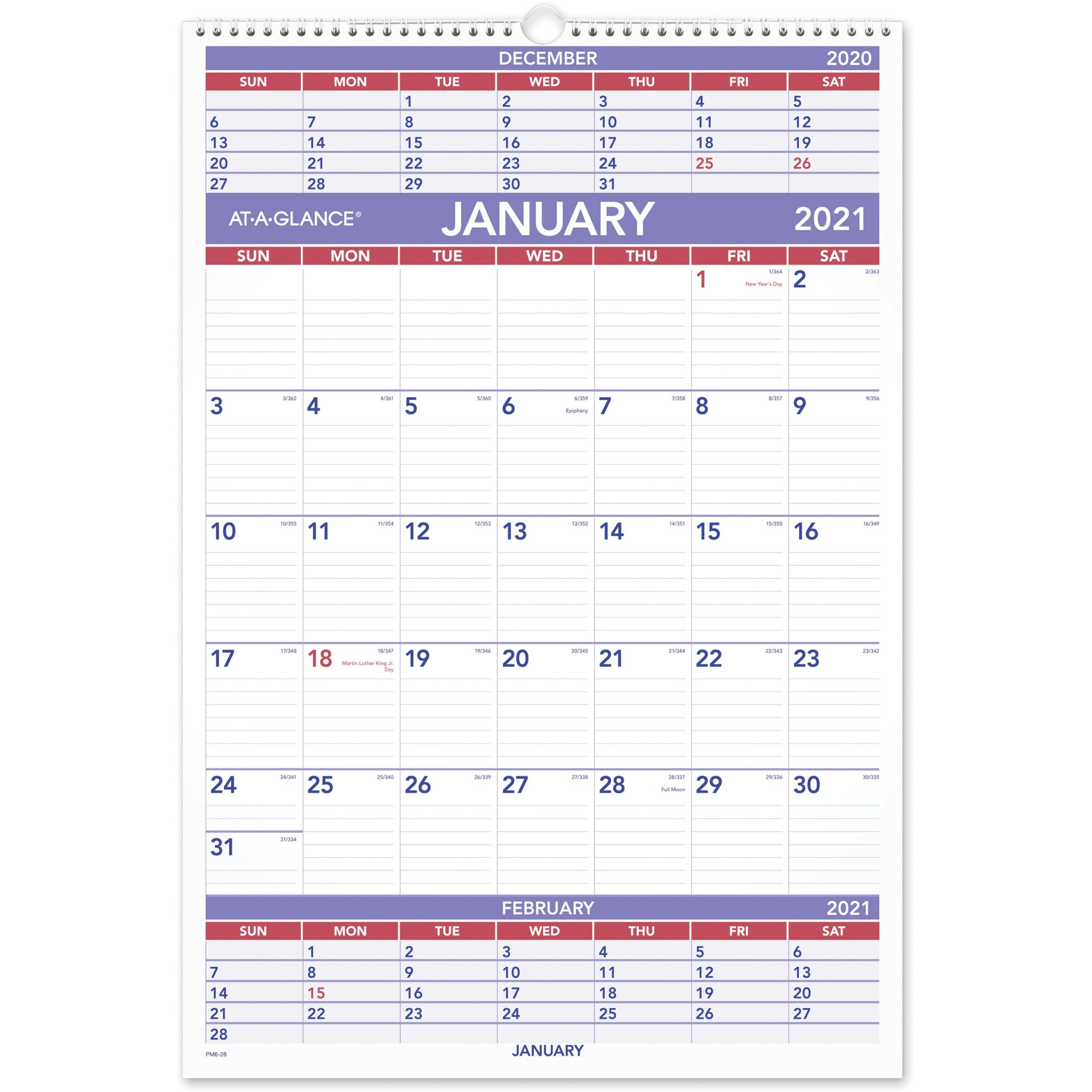 "At-A-Glance 3-Month Wall Calendar - Julian Dates - Quarterly - 1 Year -  January 2021 Till December 2021 - 3 Month Single Page Layout - 15 1/2"" X 22"